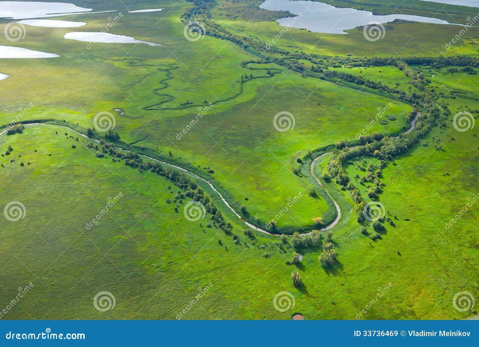 Малое река на зеленом луге