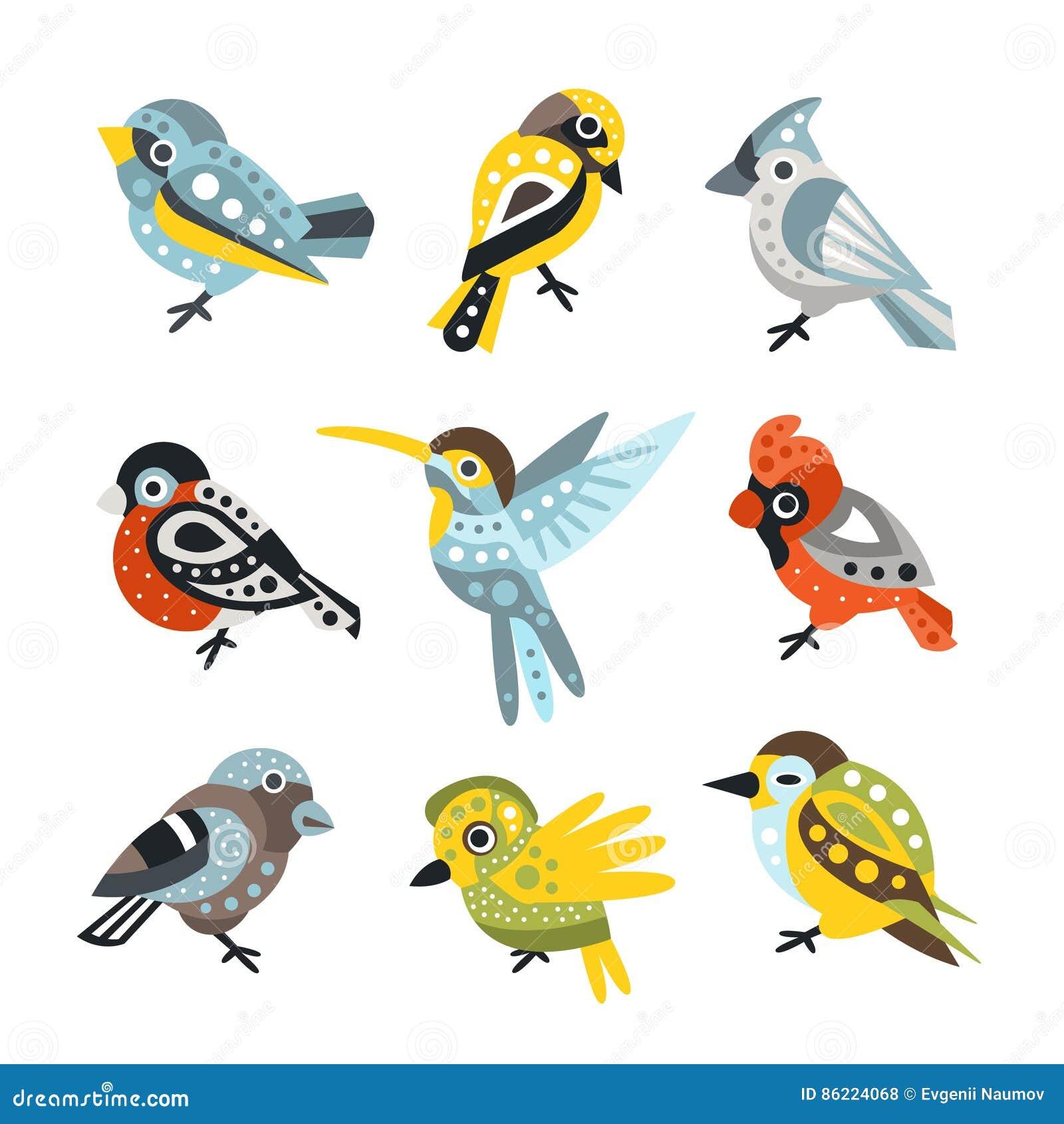 Малые виды птиц, воробьи и колибри установленные декоративных художнических иллюстраций вектора диких животных дизайна