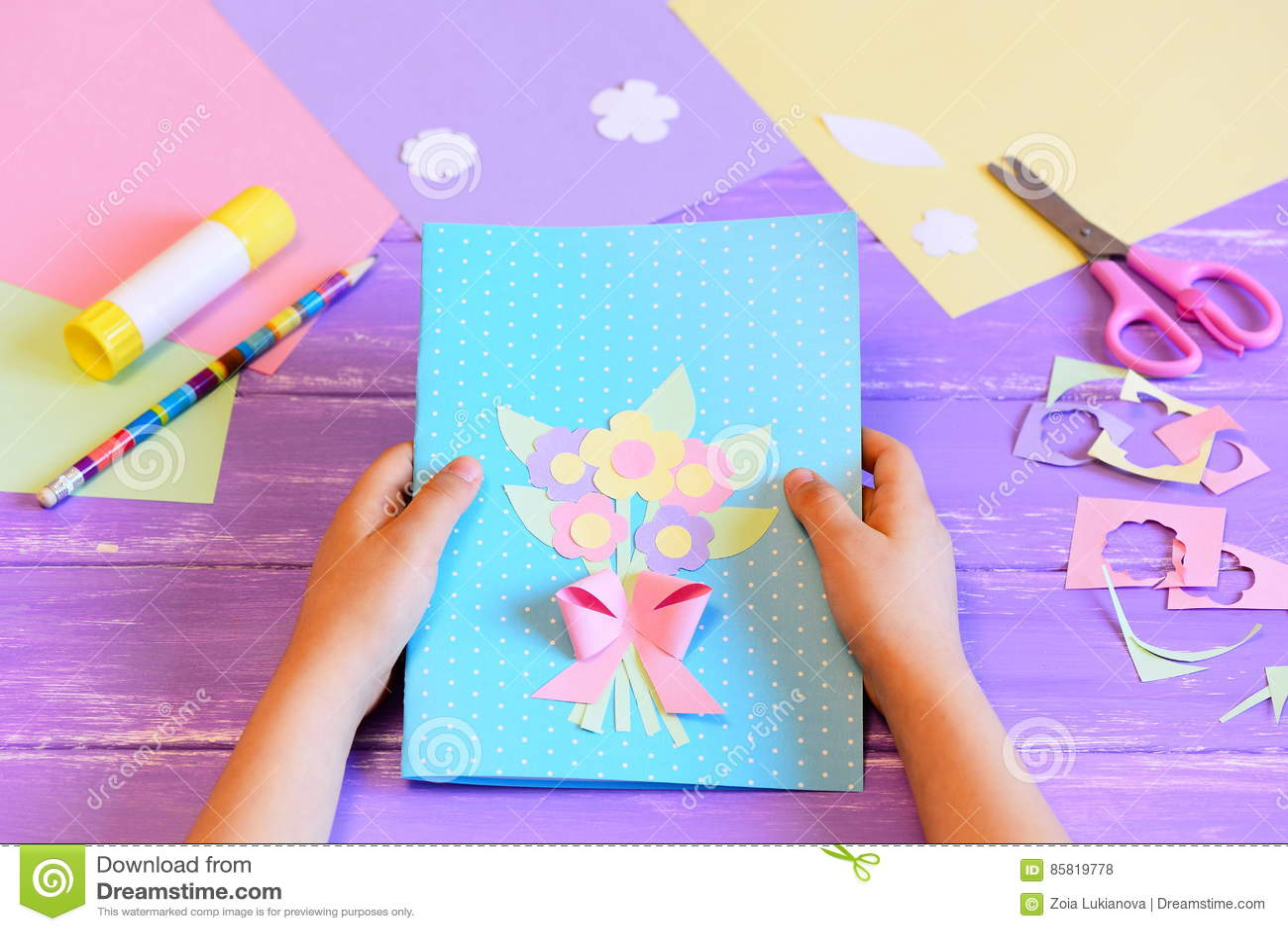 Открытка сделанная ребенком своими руками