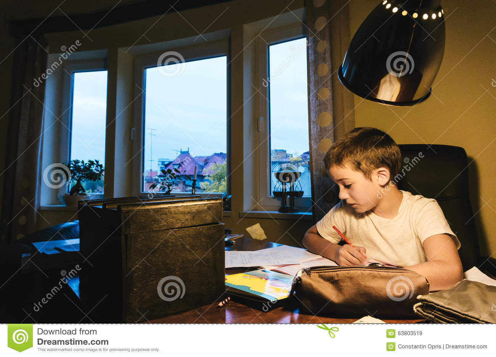 мальчик делая домашнюю работу