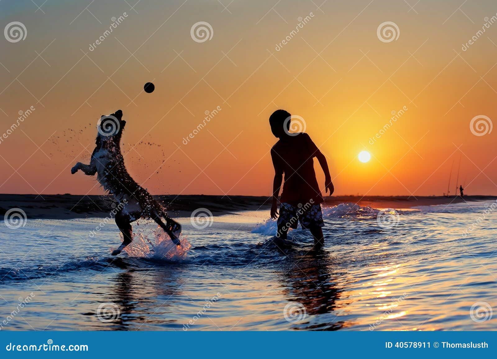 Мальчик играя с собакой на пляже