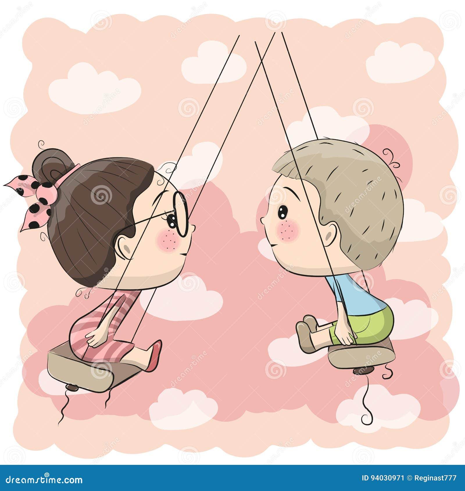 Мальчик и девушка на качании