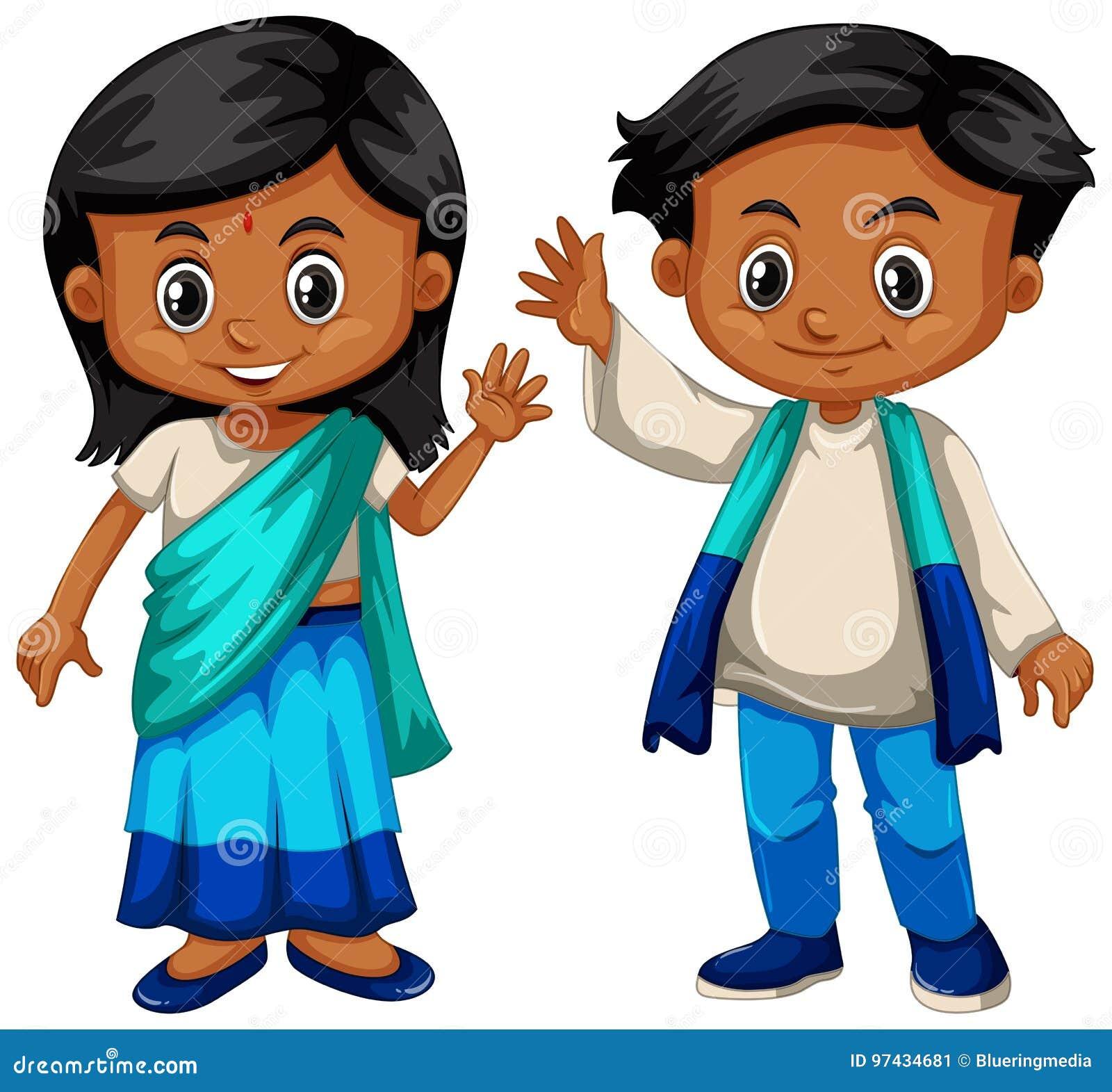Мальчик и девушка Шри-Ланки в традиционном костюме