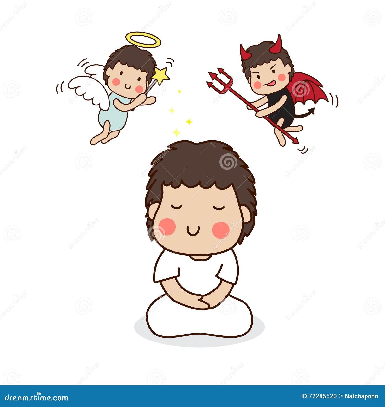 Download Мальчик размышляя с ангелом и дьяволом Иллюстрация вектора - иллюстрации насчитывающей шарж, драка: 72285520