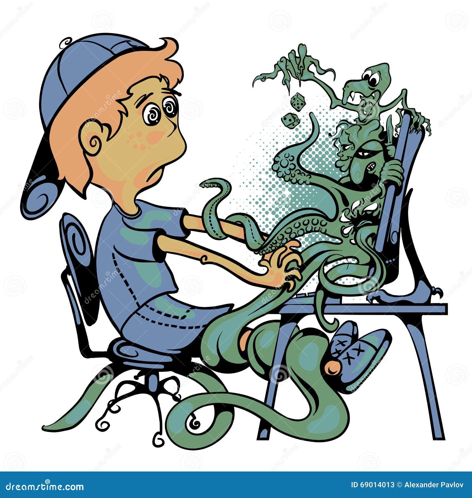 Мальчик сидит на компьютере Контролируйте вползать с извергами и характерами игры