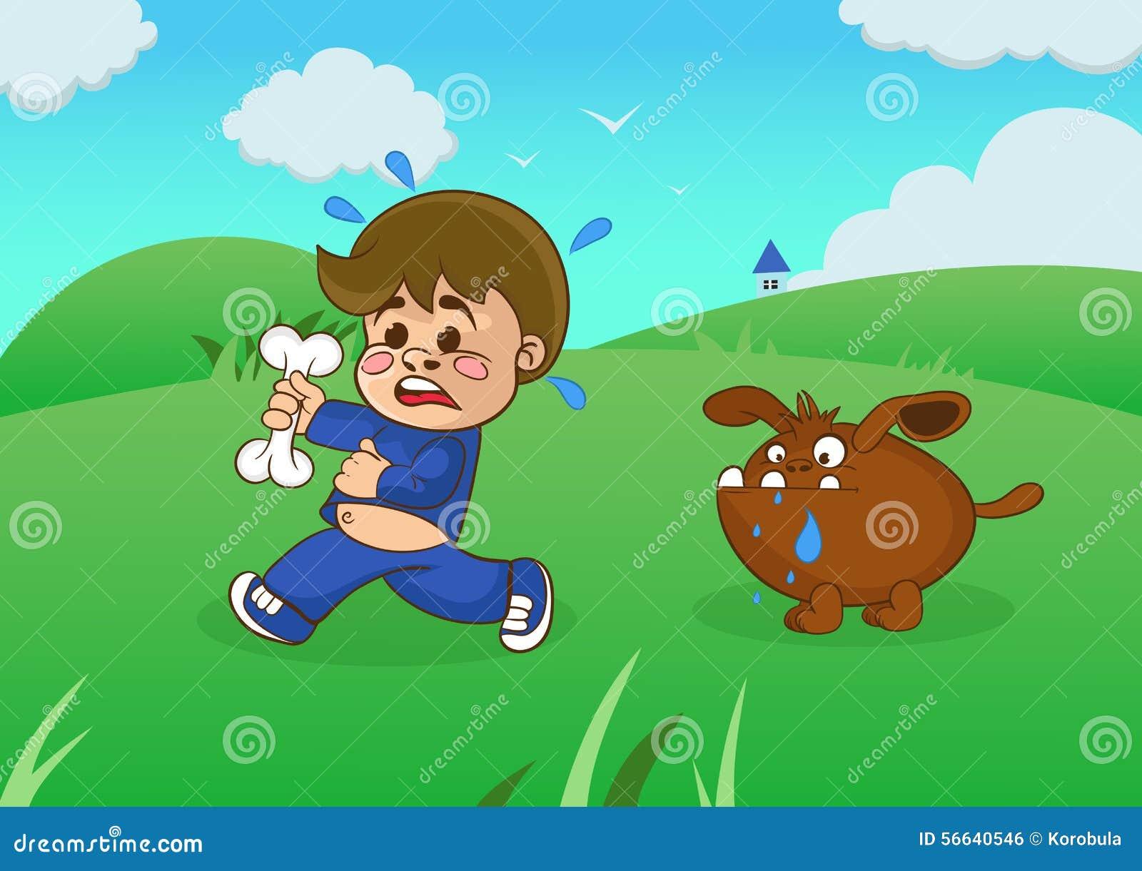Мальчик шаржа бежать далеко от голодая собаки