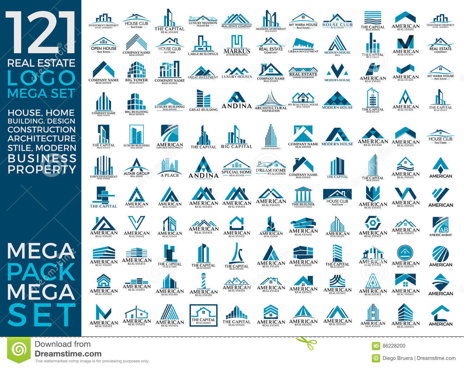 Мега комплект и большой дизайн вектора логотипа группы, недвижимости, здания и конструкции