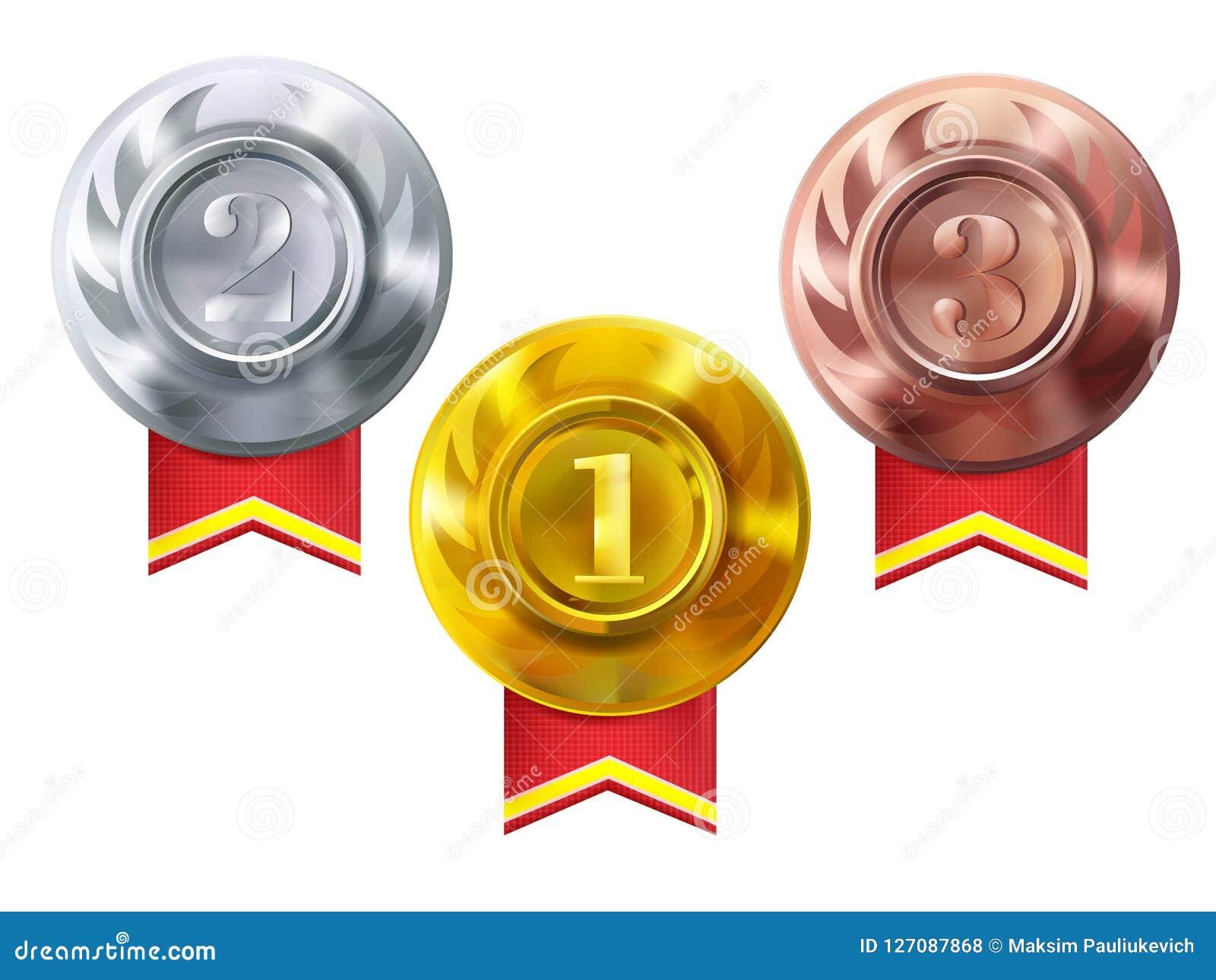 Медали золото, серебр, бронзовые награды чемпиона вектора