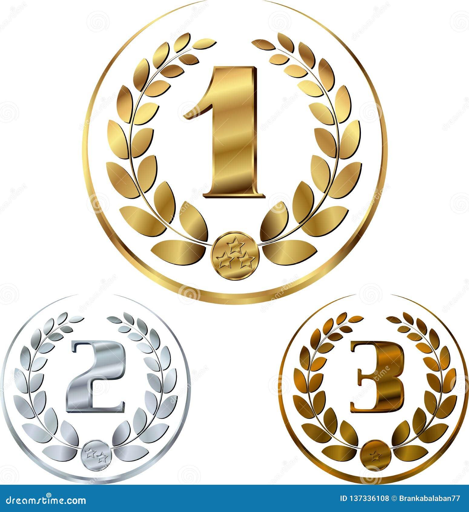 Медали - награды установили с лаврами в круге