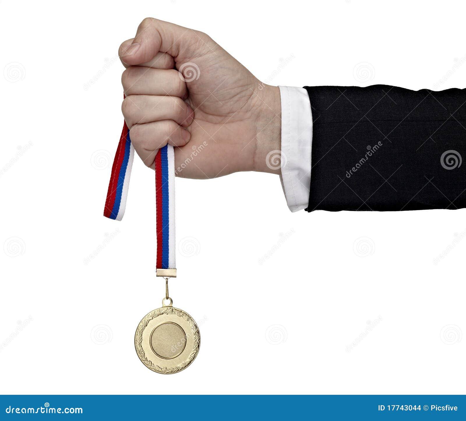 медаль удерживания руки дела золотистое