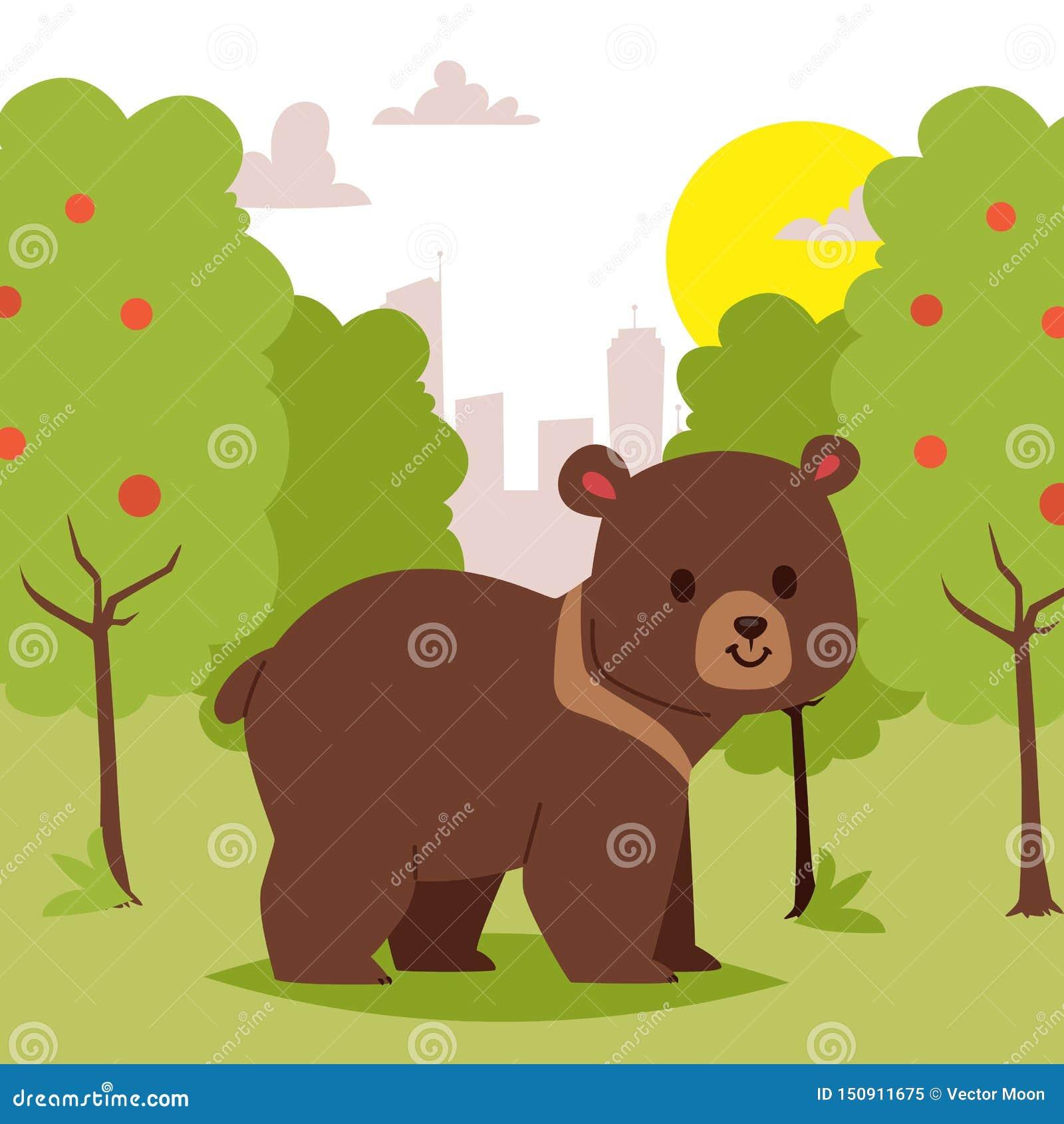 Медведь дикого мультфильма животный идя в зеленую зону на иллюстрации вектора знамени предпосылки города Красивая сцена природы