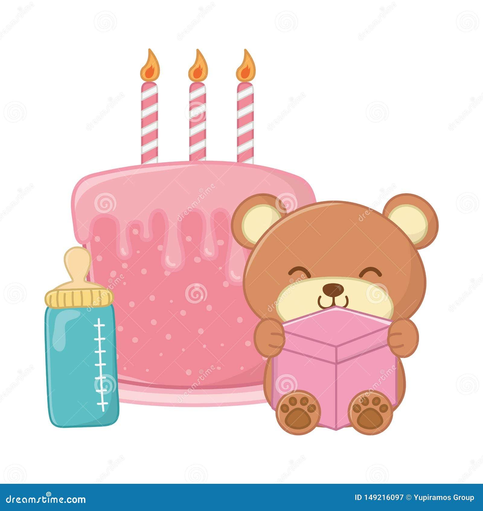 Медведь игрушки и именниный пирог