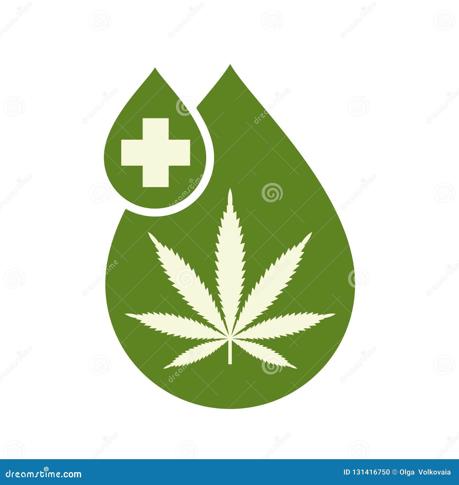 Медицинский дизайн значка масла конопли с лист марихуаны и масло пеньки падают Выдержка конопли масла CBD Ярлык и логотип продукт