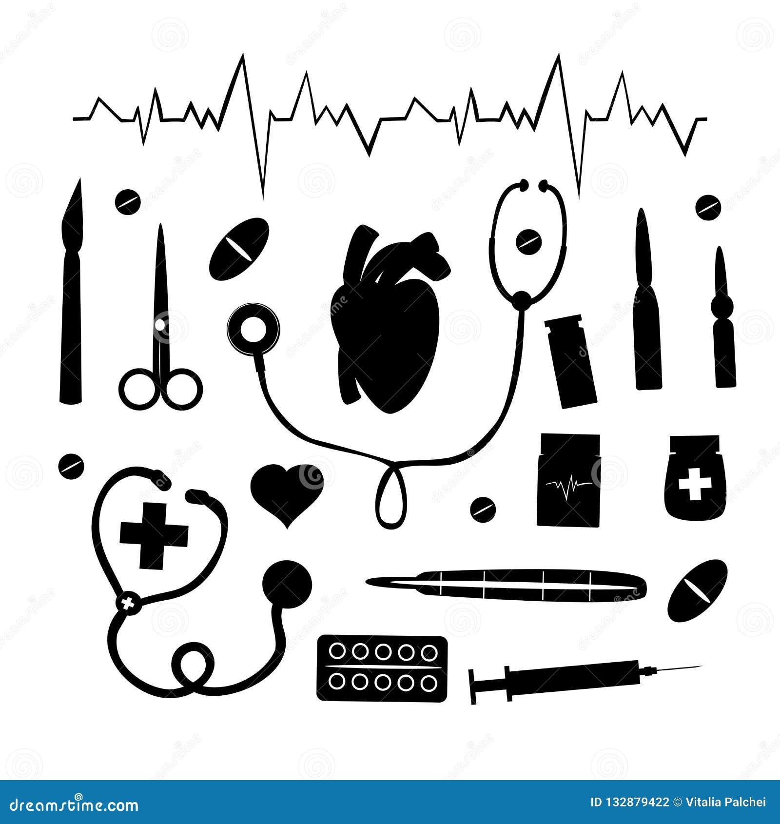 Медицинский набор на белой предпосылке
