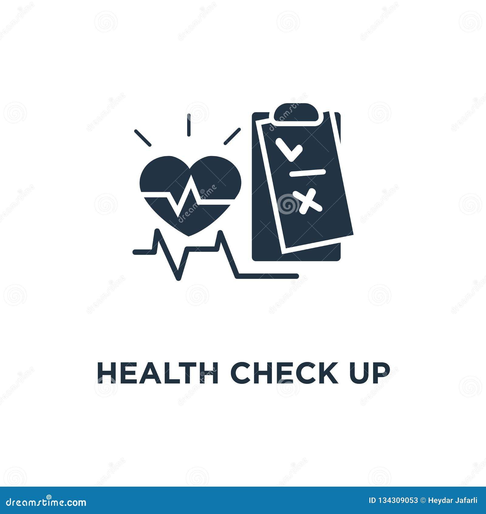 медицинский осмотр вверх по значку контрольного списока тест предохранения сердечно-сосудистого заболевания, дизайн символа конце