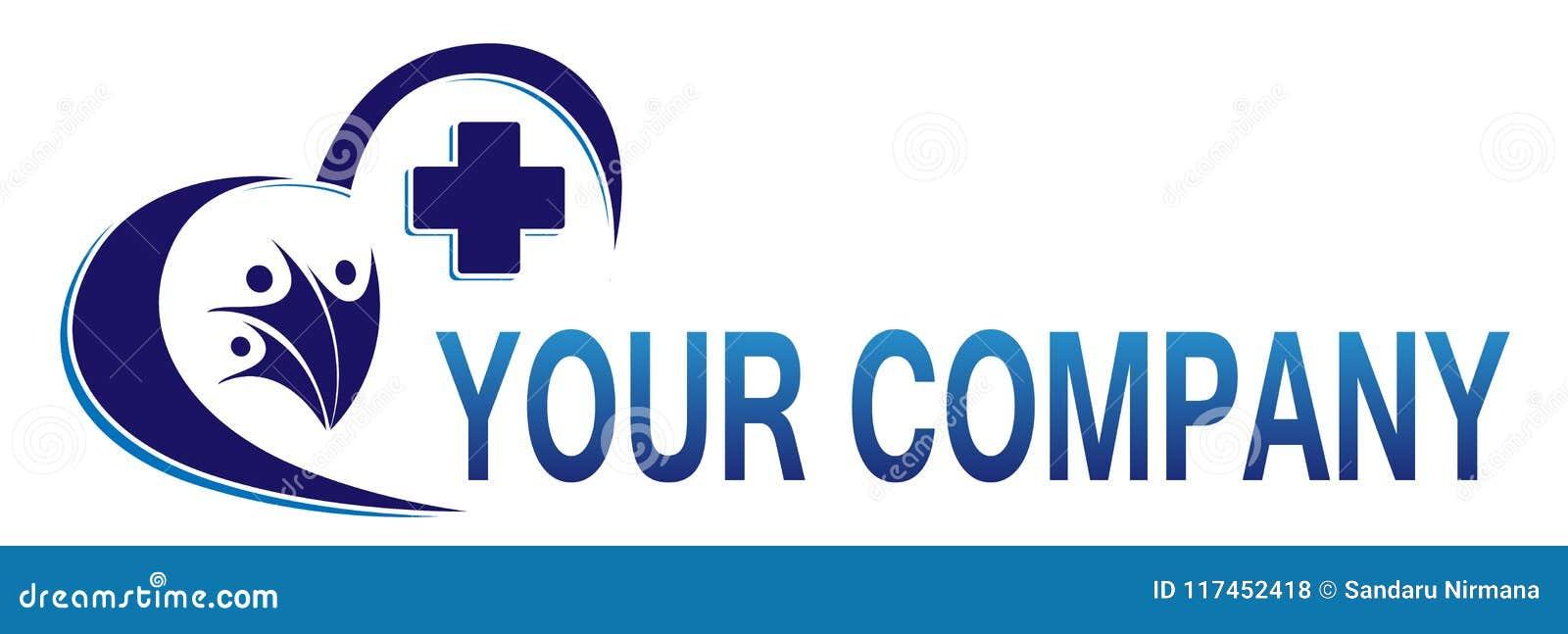 Медицинский перекрестный значок логотипа здоровья семьи сердца для компании