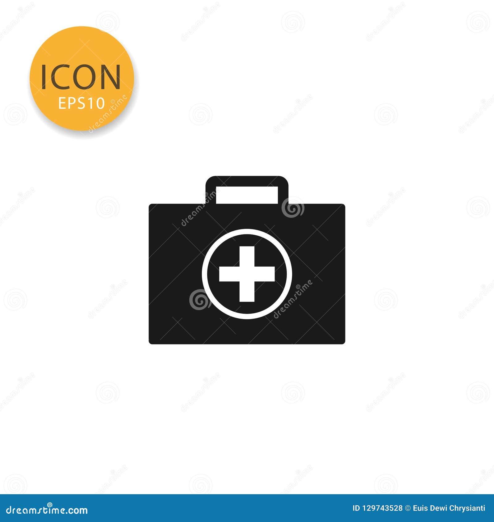 Медицинским стиль сумки изолированный значком плоский