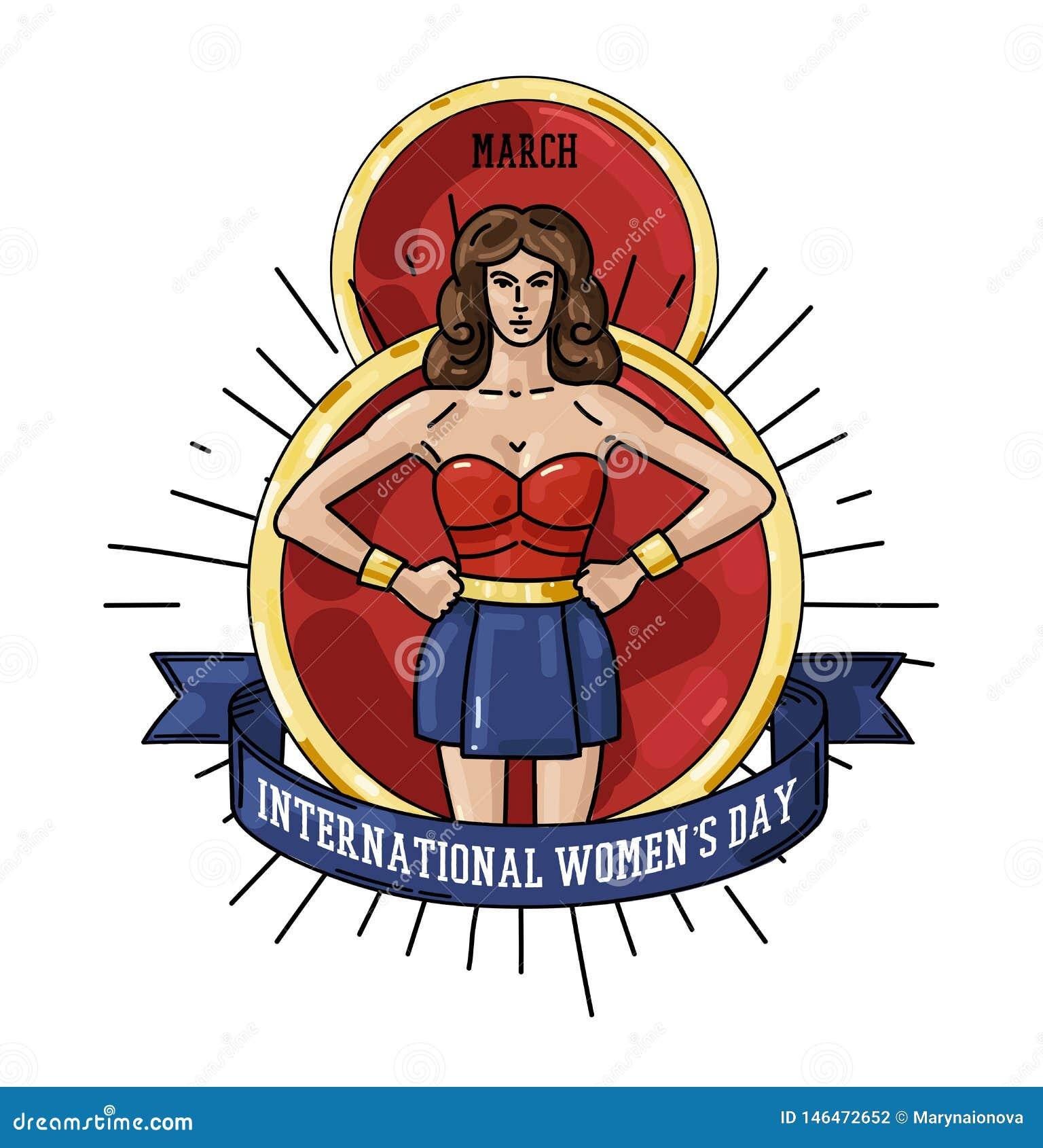 Международная поздравительная открытка дня женщин s с иллюстрацией женщины
