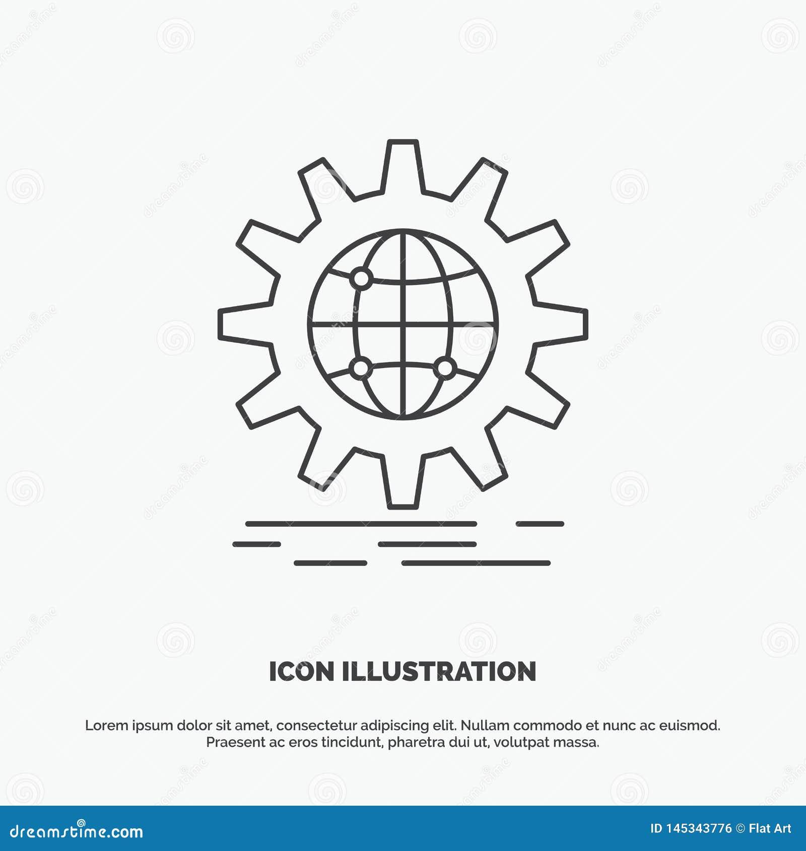 международный, дело, глобус, всемирный, значок шестерни r