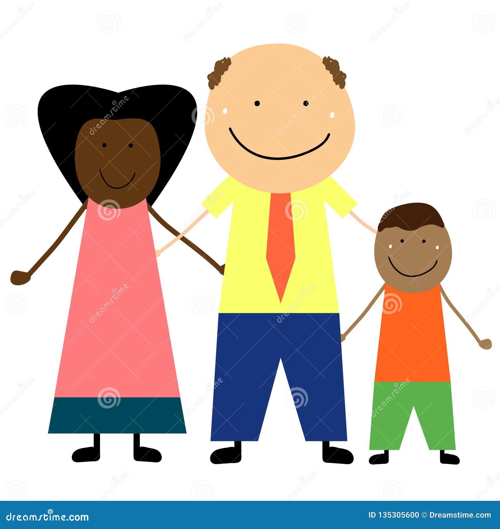 Межрасовая семья с ребенком