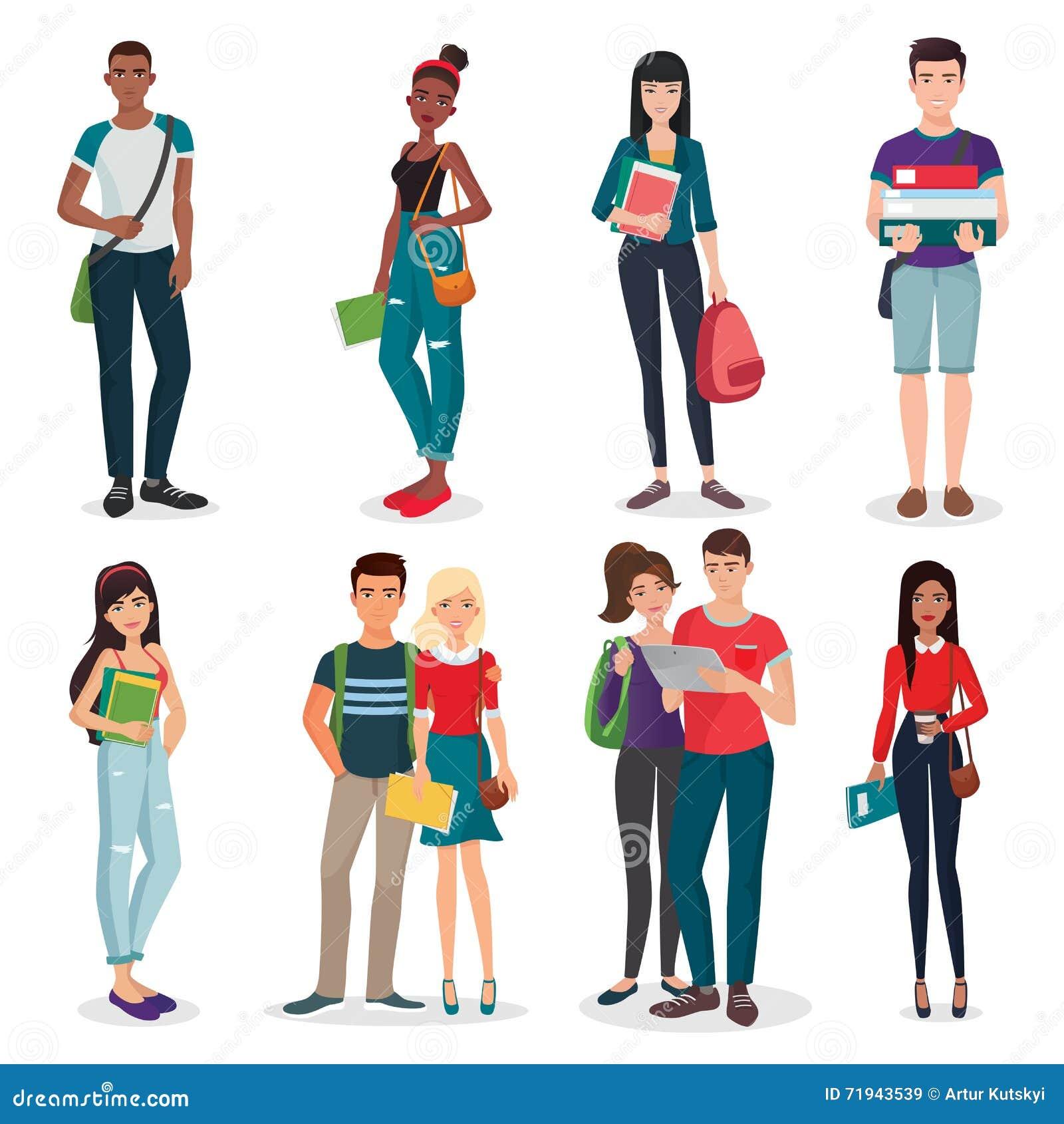 Международная группа в составе университета или коллежа молодое собрание характеров и пар студентов