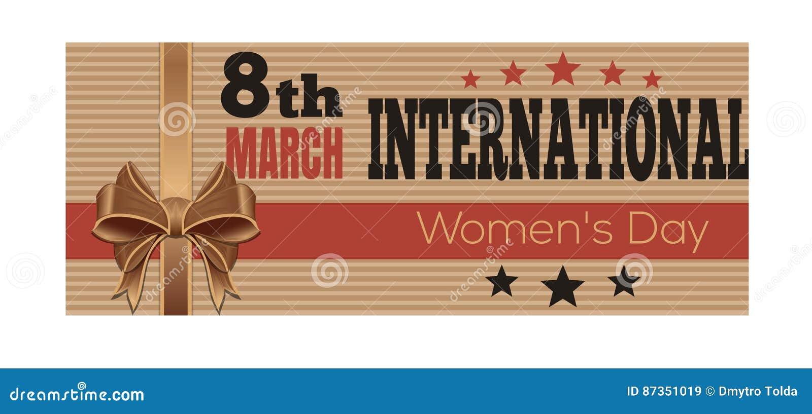 Международный женский день Ретро поздравительная открытка стиля 8-ое марта