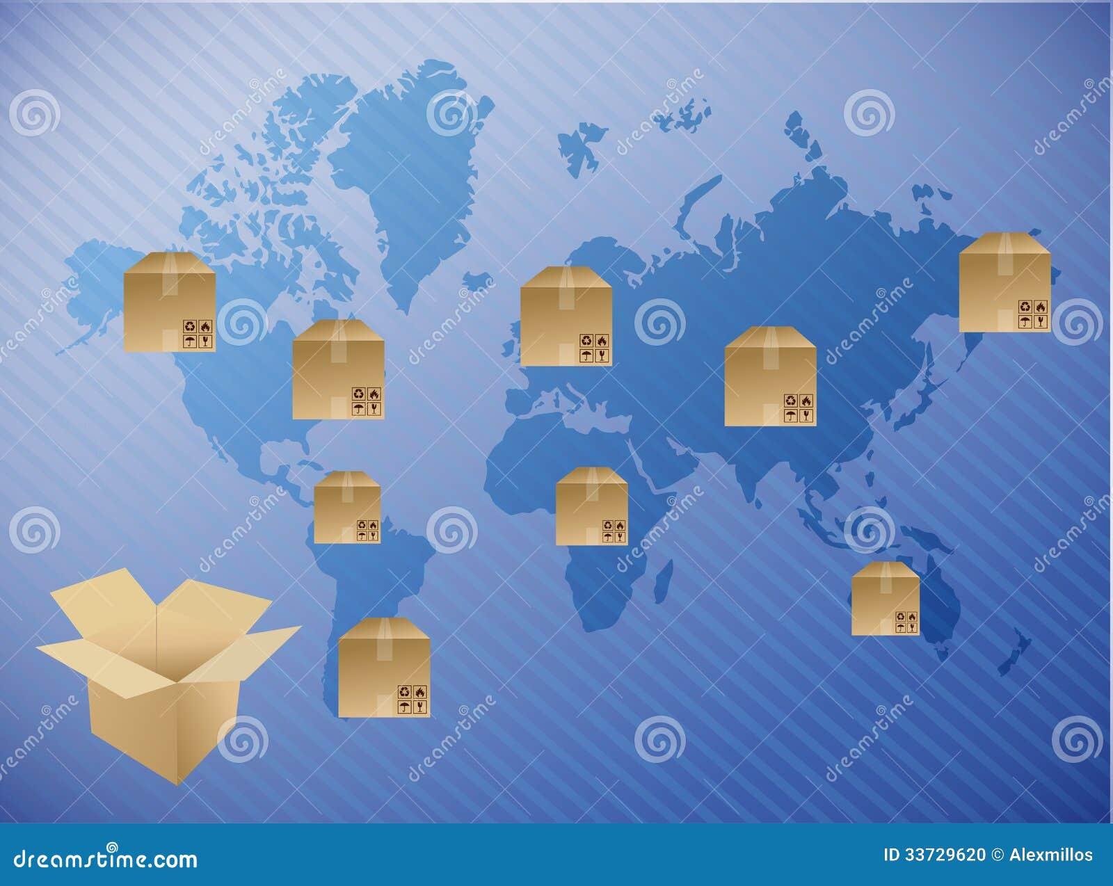 Международный дизайн иллюстрации доставки коробки
