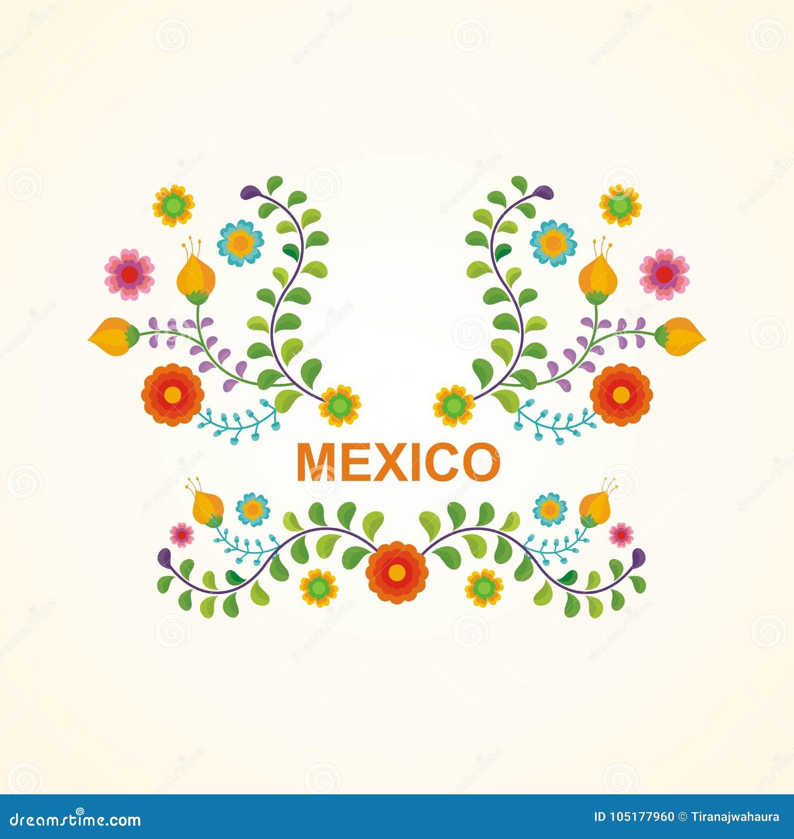 Мексиканская этническая рамка цветка - дизайн границы