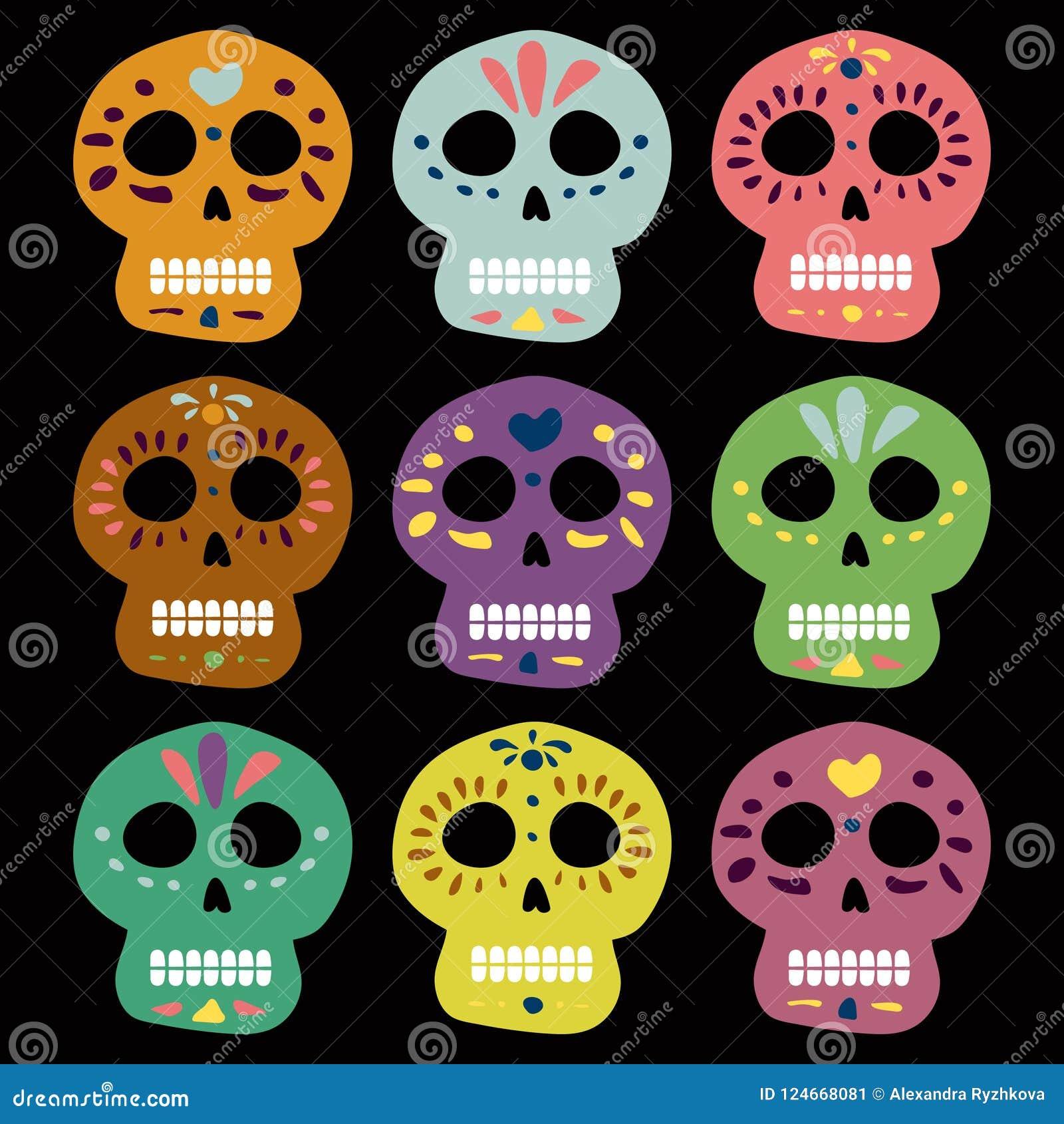 Мексиканские черепа вектора на день умерших muertos de dia los Иллюстрация для дизайна walpaper карточки места знамени