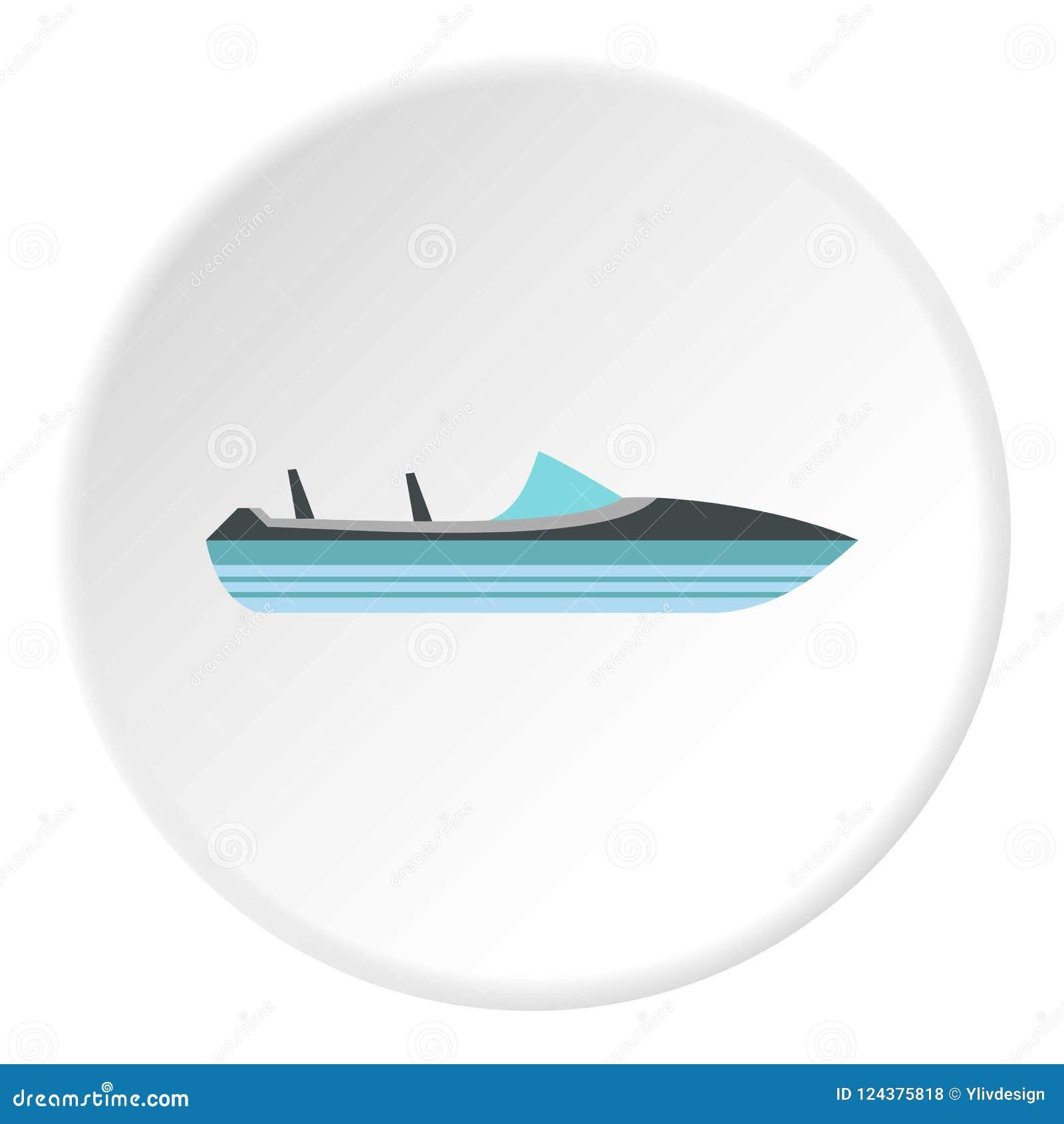 Меньший значок powerboat, плоский стиль