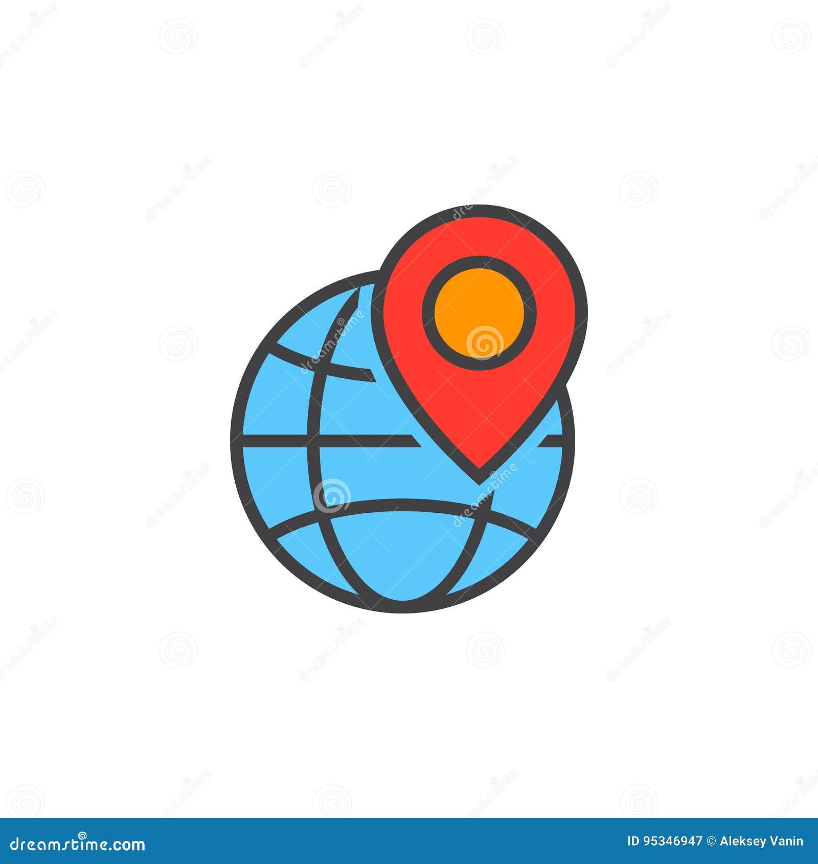 Местный символ seo Глобус и отметка положения выравнивают значок, заполненный ou