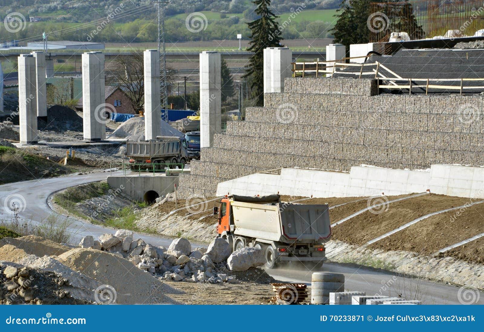 Место производства работ при штендеры, который вытерпели стена и тележки управляя на дороге