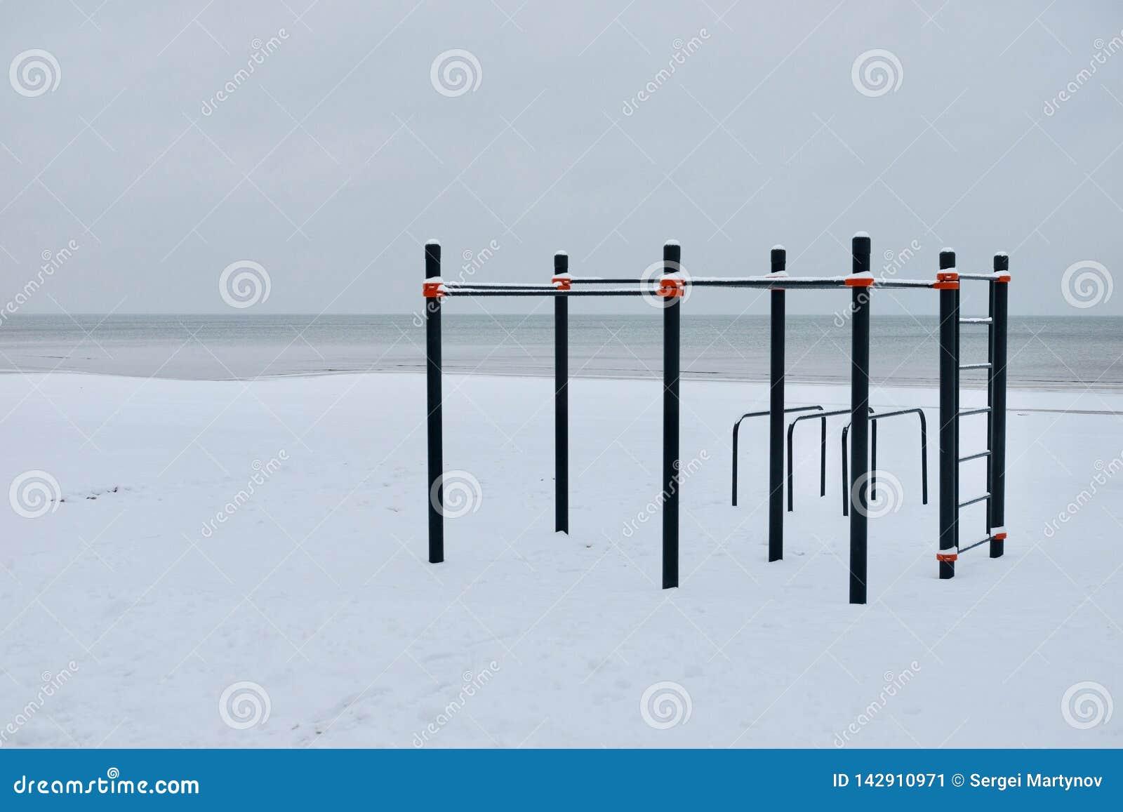 Место разминки в зиме на взморье