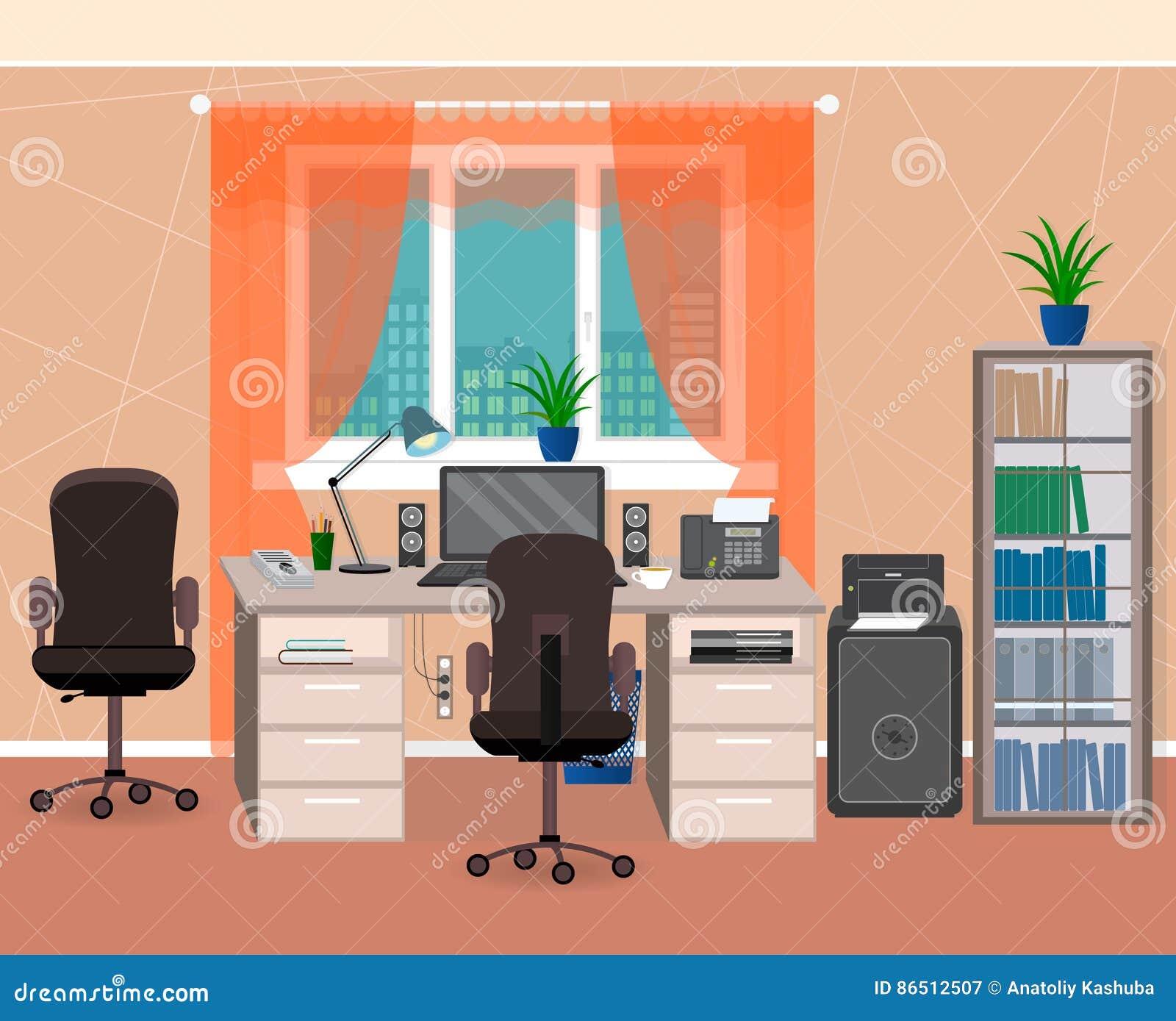 Место для работы офиса внутреннее с мебелью и канцелярскими принадлежностями Организация рабочего места в домашнем окружении