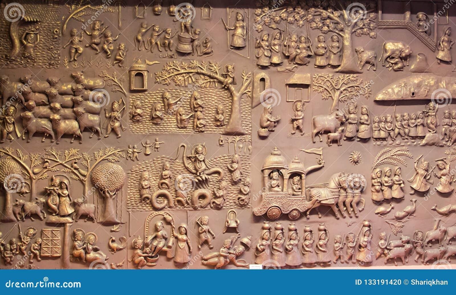 Металлическая пластинка Индия Krishna Leela