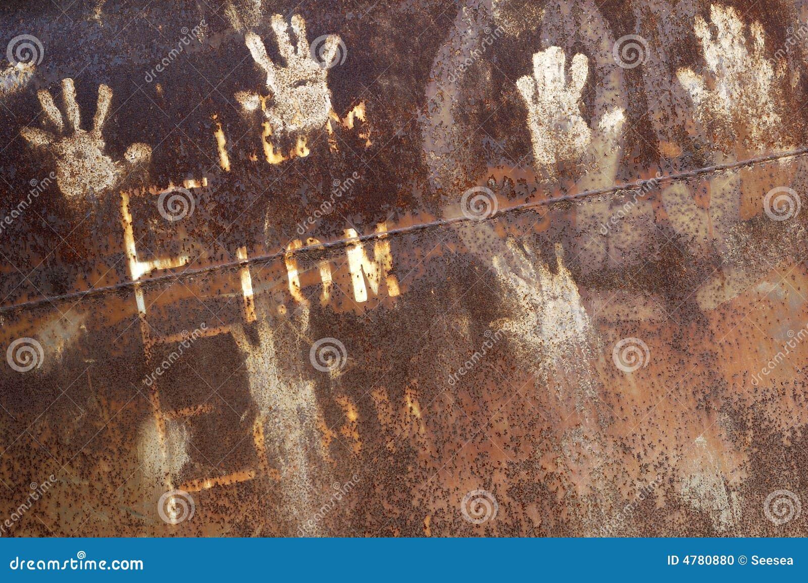 металл handprint ржавый