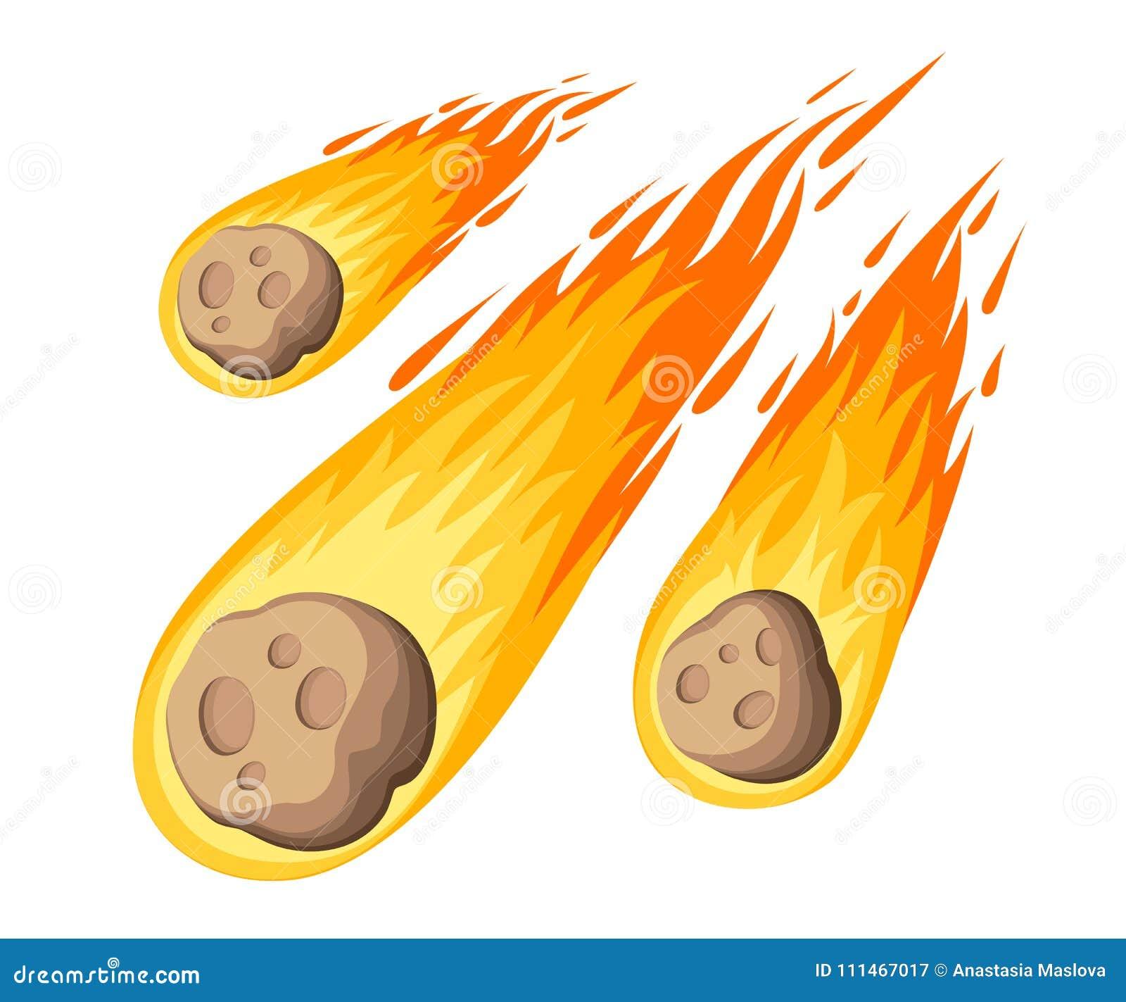 Метеорит пламени Падение дождя метеора на планету в стиле шаржа Значок цвета катаклизма Иллюстрация вектора изолированная на бело