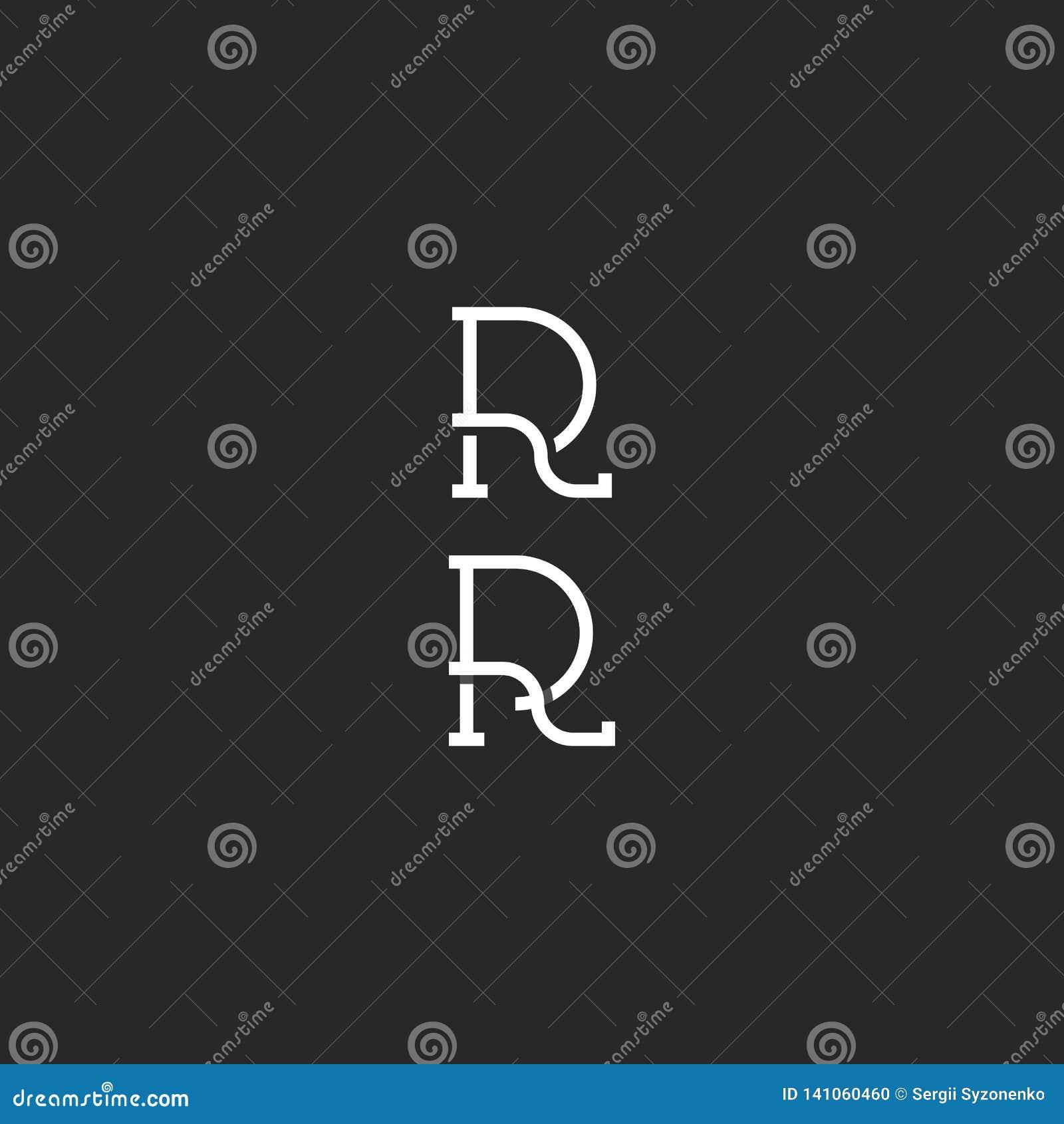 Метка хипстера логотипа вензеля r черно-белая простая, модель-макет эмблемы приглашения свадьбы инициалов RR столицы, линия перес