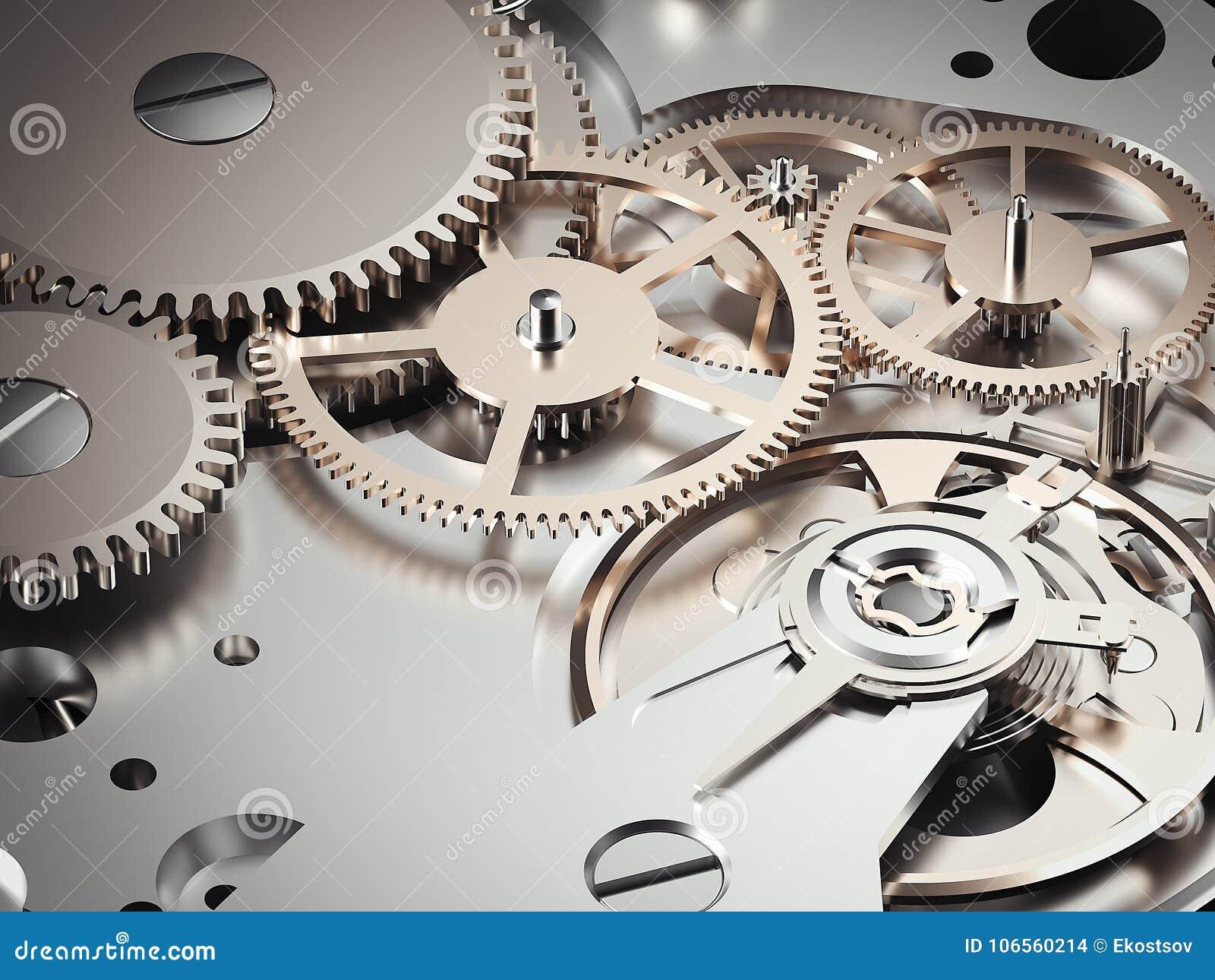 Механизм Clockwork с шестернями перевод 3d