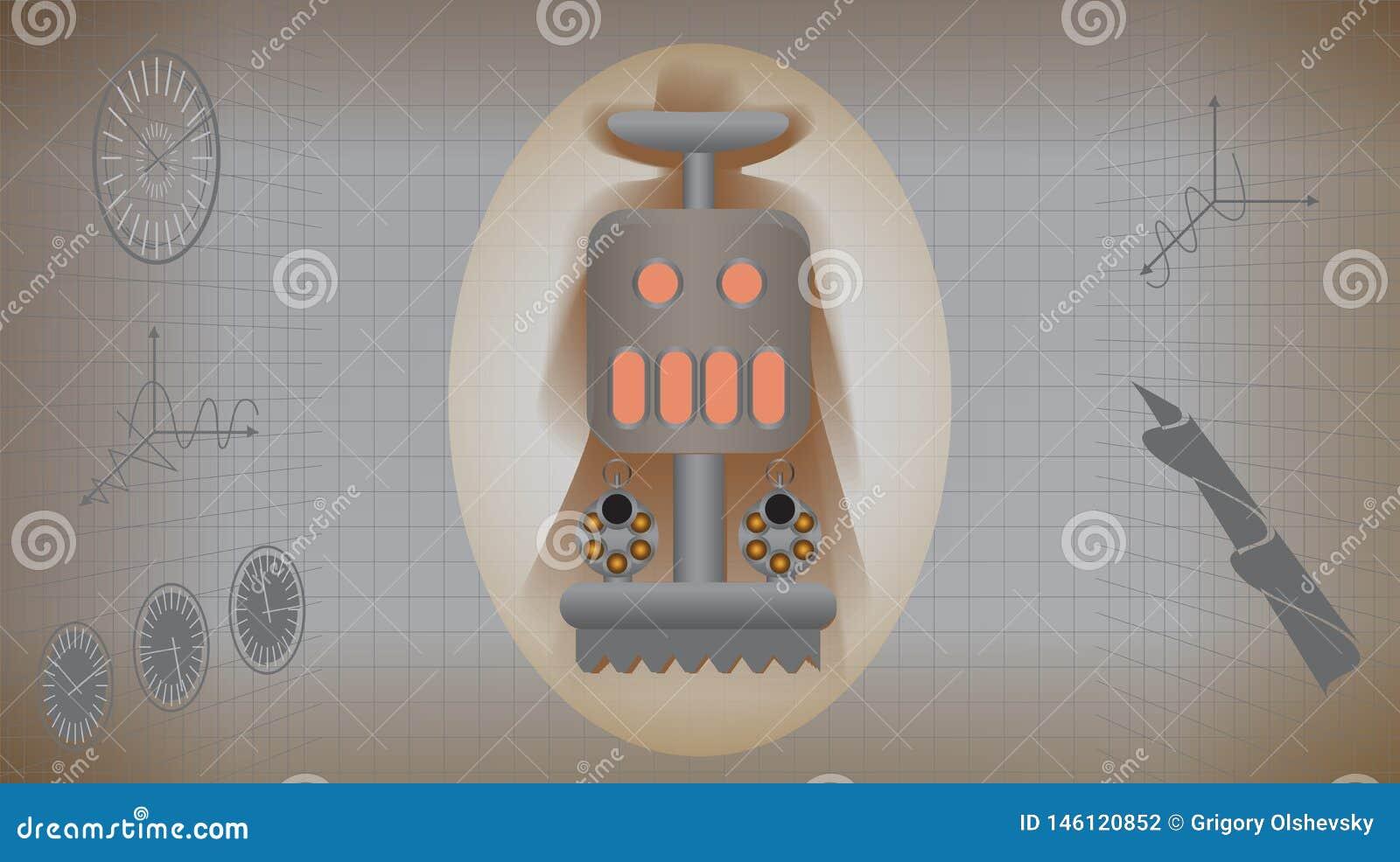 Механическое ретро чудовище с новичками в стиле infographics