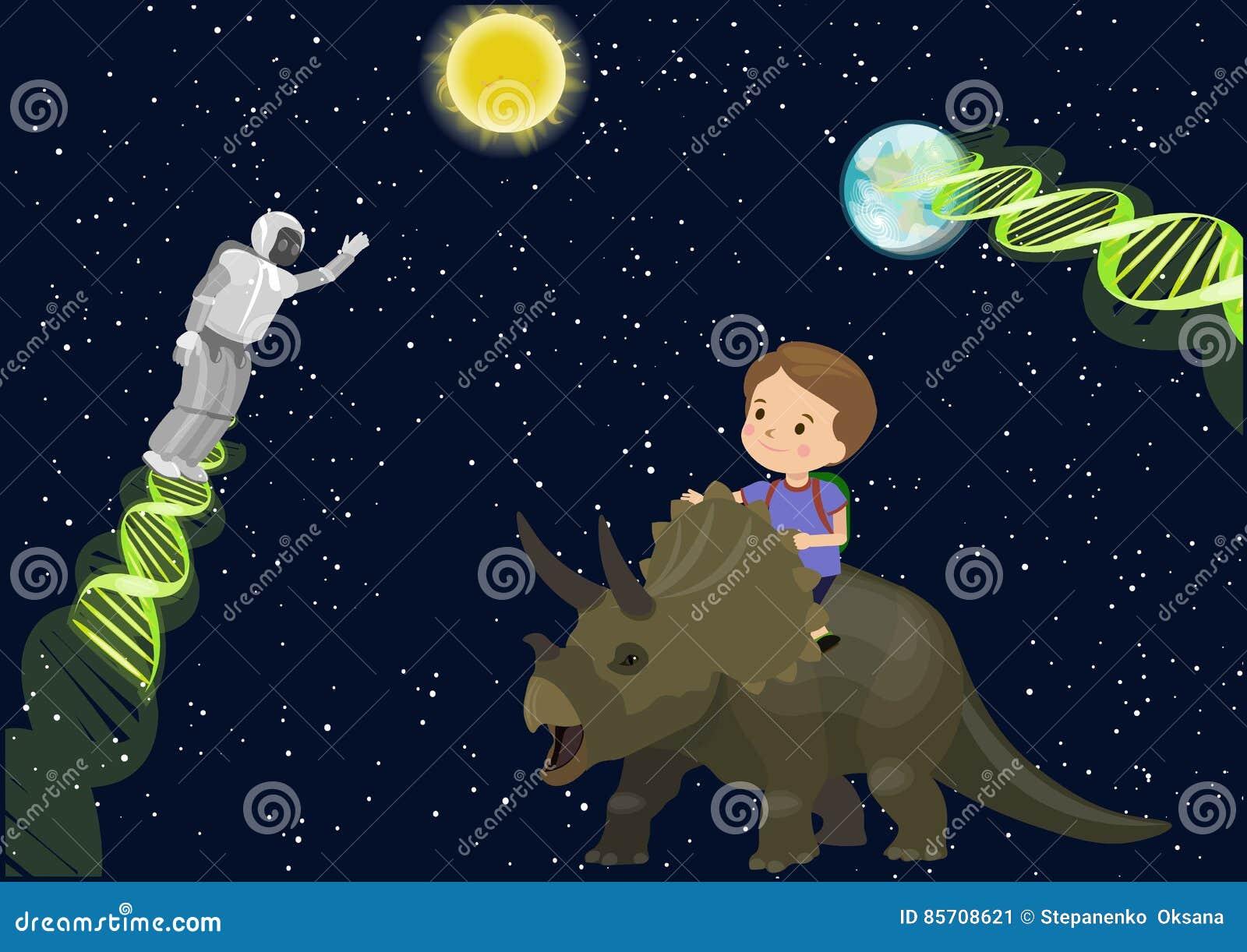 Мечта динозавра трицератопс езды школы ребенка мальчика в дна робота чужеземца встречи космоса Играет главные роли темная земля С