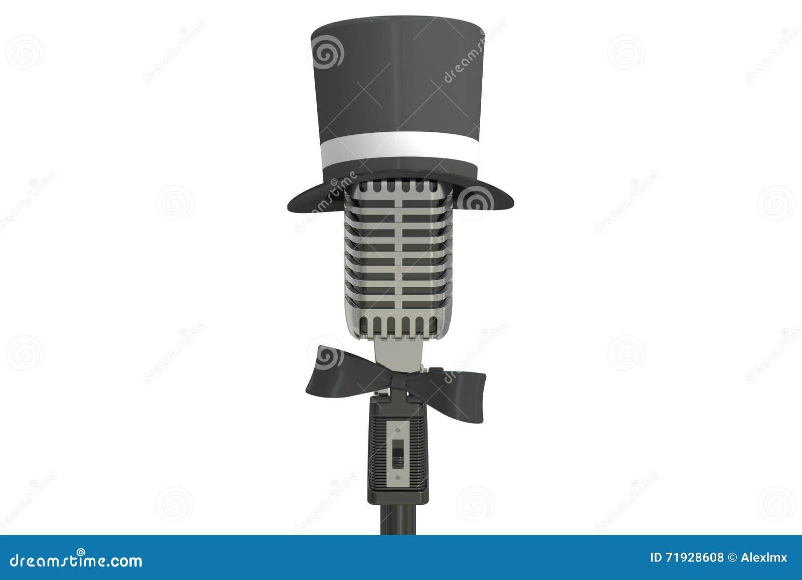 Микрофон с шляпой цилиндра и бабочкой, переводом 3D