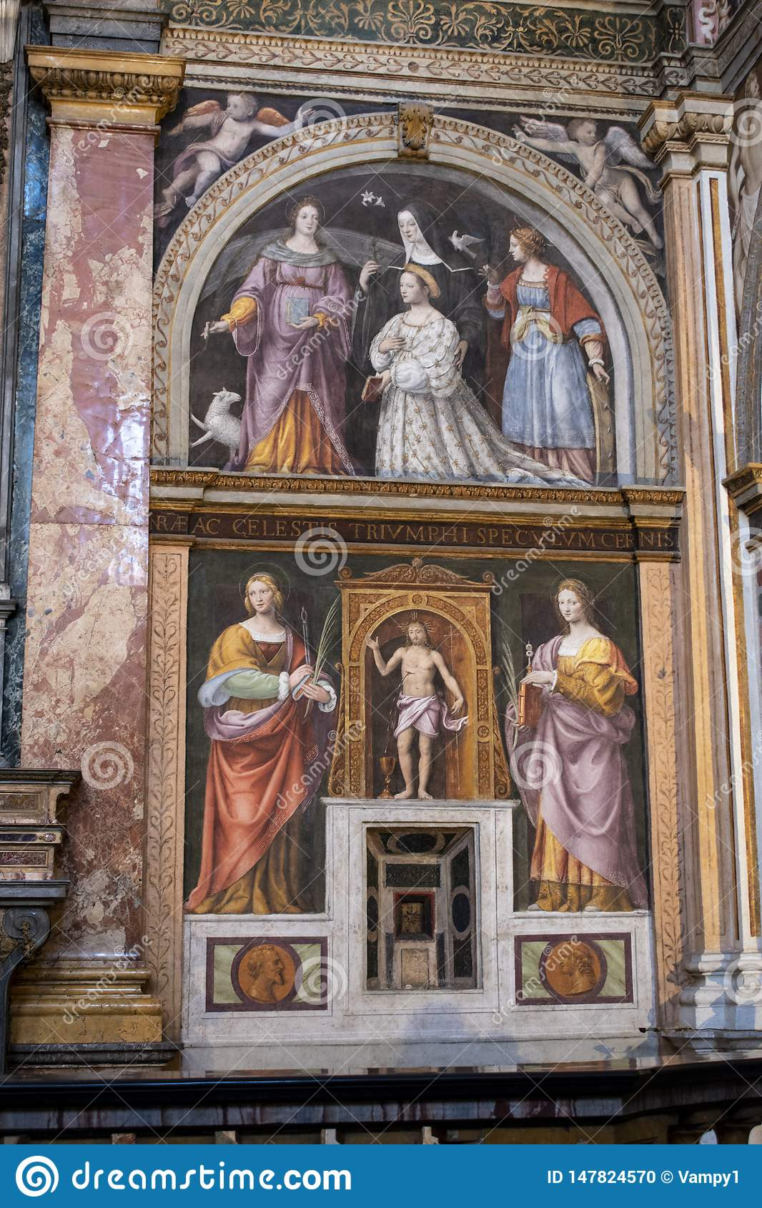 Милан, Италия, Европа, al Monastero Maggiore Сан Maurizio, церковь, Сикстинская капелла Милана, искусства, фрески, монастыря, мон