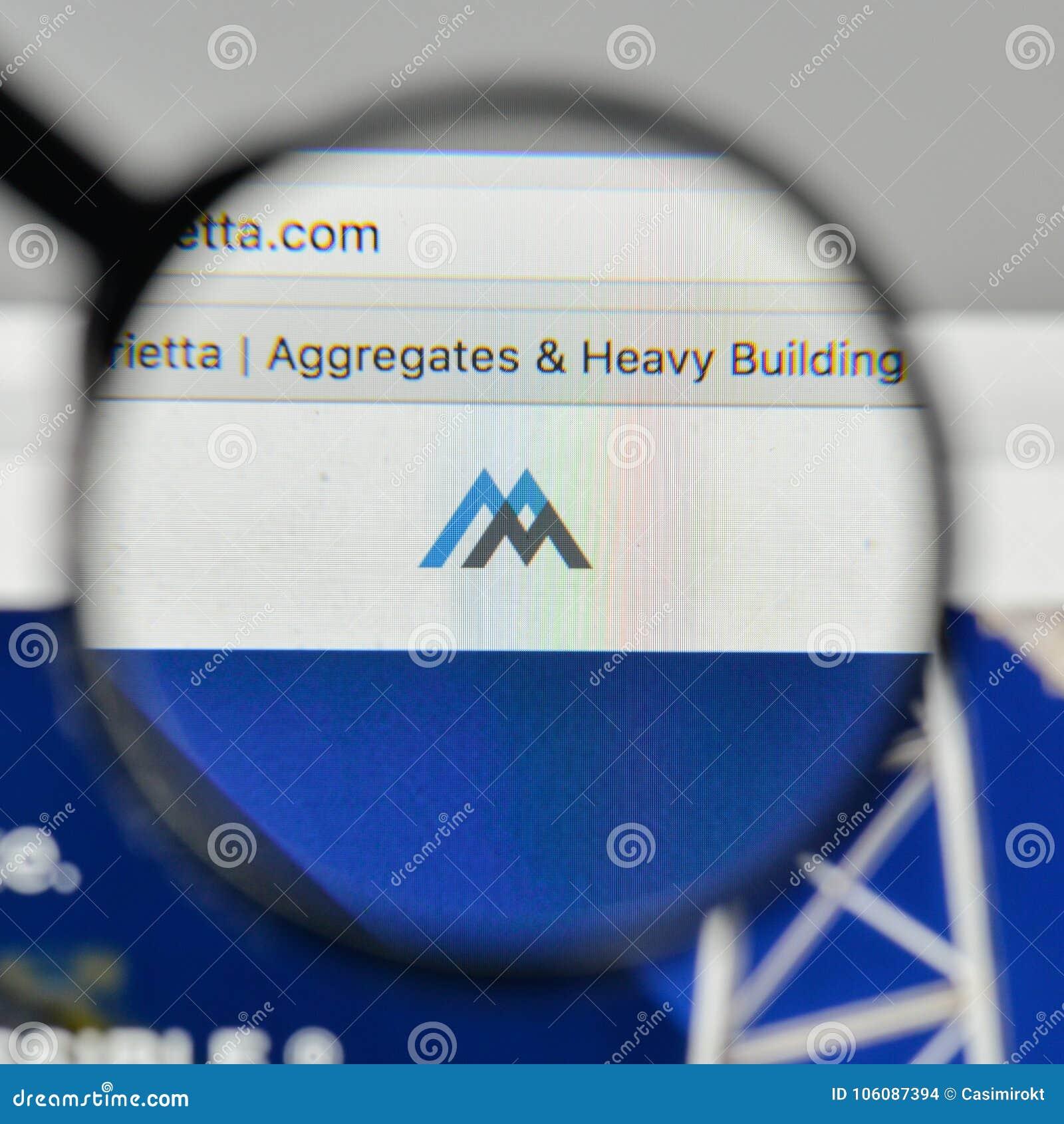 Милан, Италия - 1-ое ноября 2017: Логотип материалов Мартина Marietta