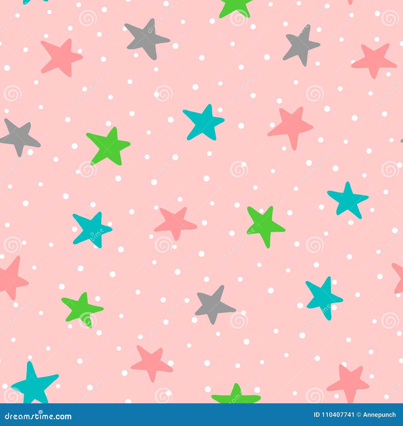 Милая безшовная картина с красочными звездами и точками польки Нарисовано вручную