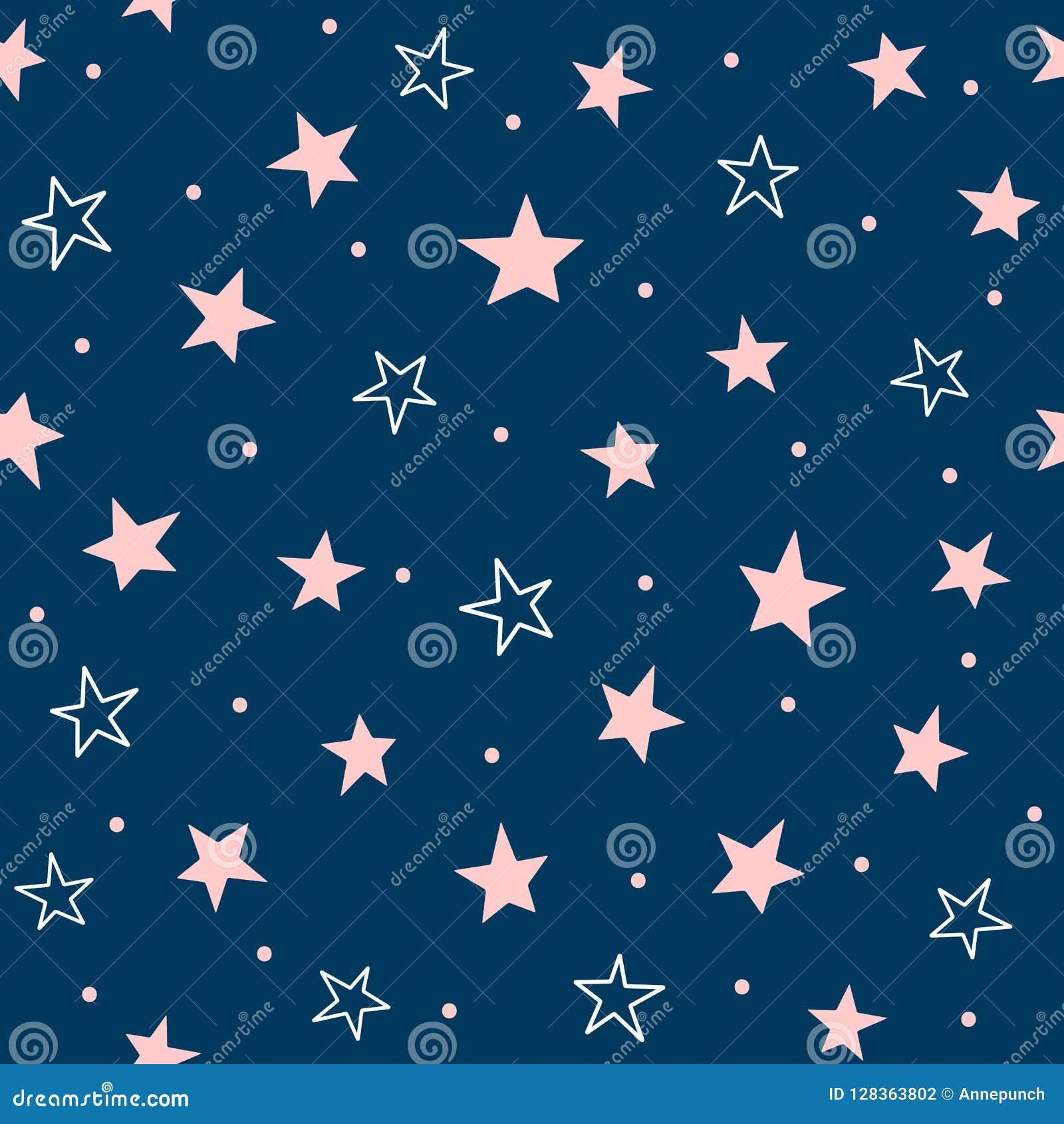 Милая безшовная картина с разбросанными звездами и круглыми точками Повторенная girly печать