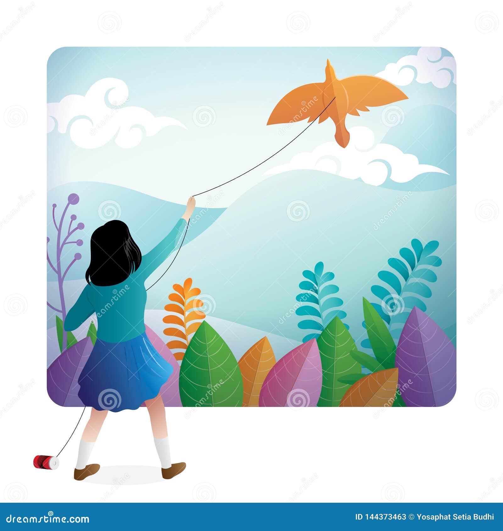 Милая девушка играя змея на открытом воздухе с красивым ландшафтом на предпосылке