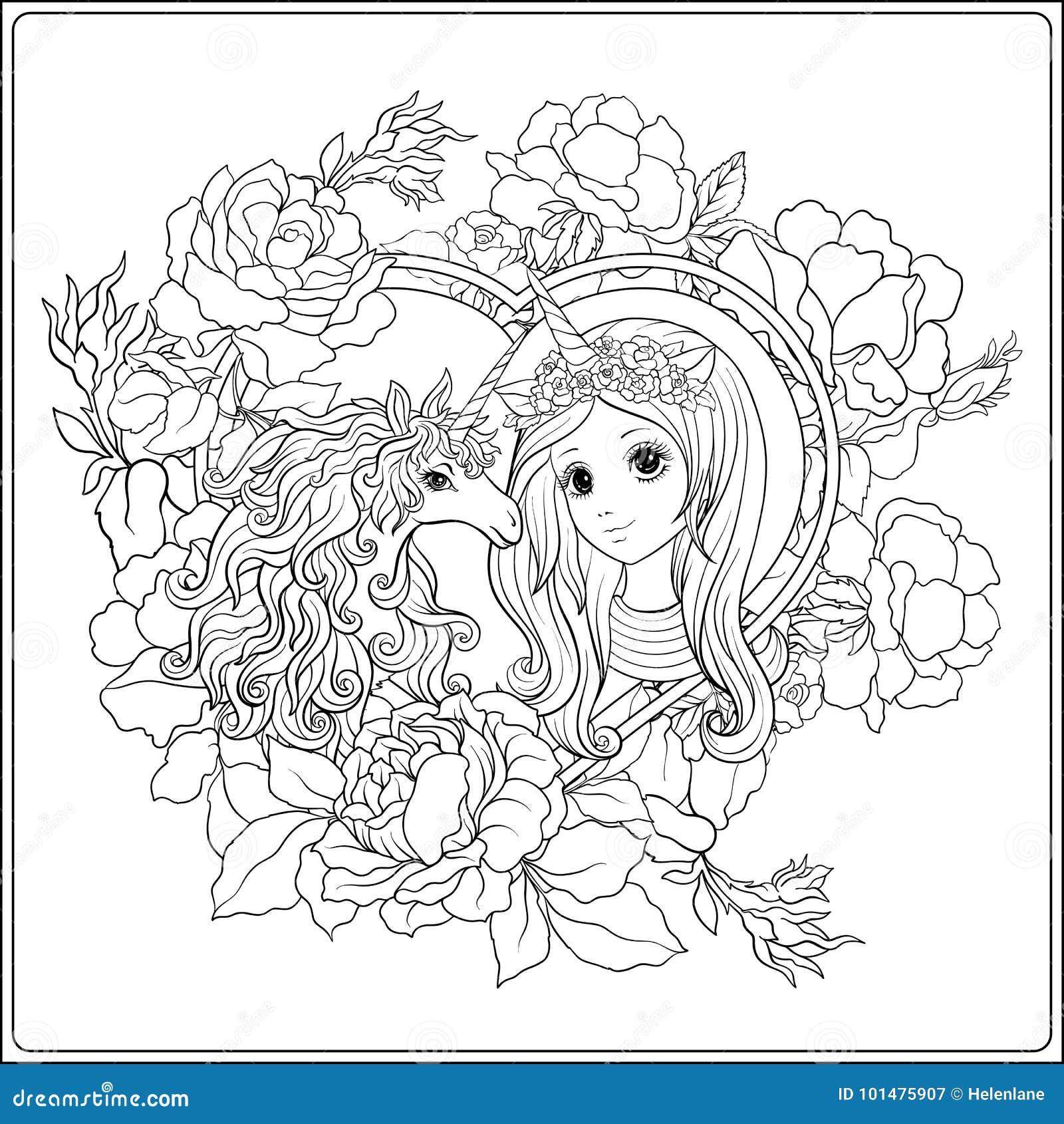 милая девушка и единорог в саде роз расцветка чертежа плана
