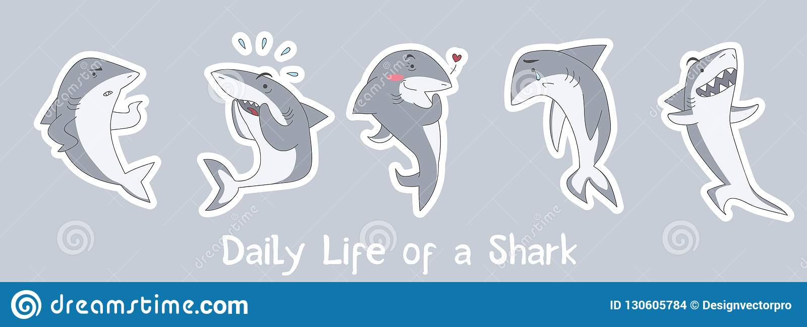 Милая иллюстрация акул с надписью ' потехи; ежедневная жизнь shark'