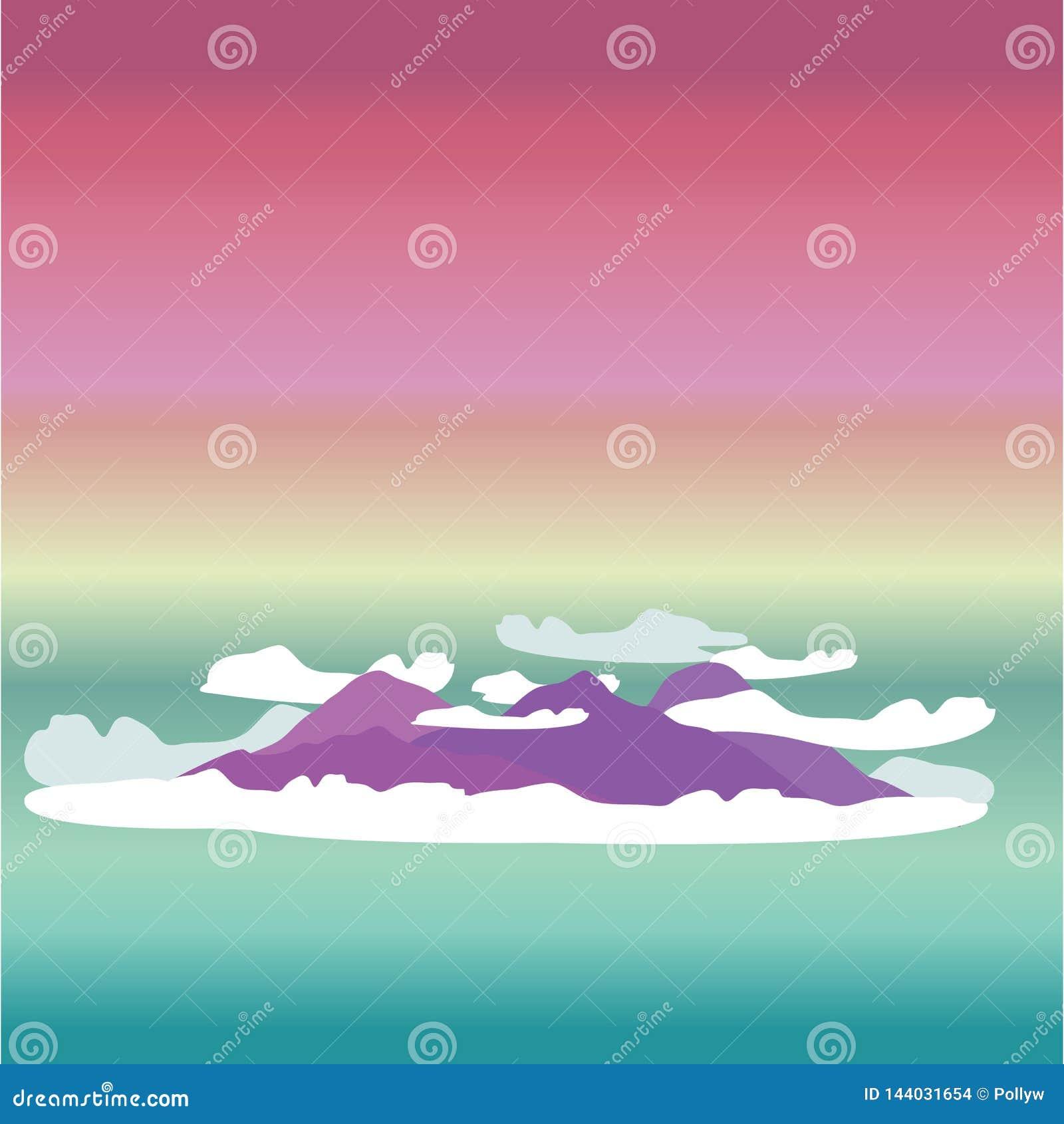 Милая иллюстрация вектора мультфильма облаков и пурпурных холмов